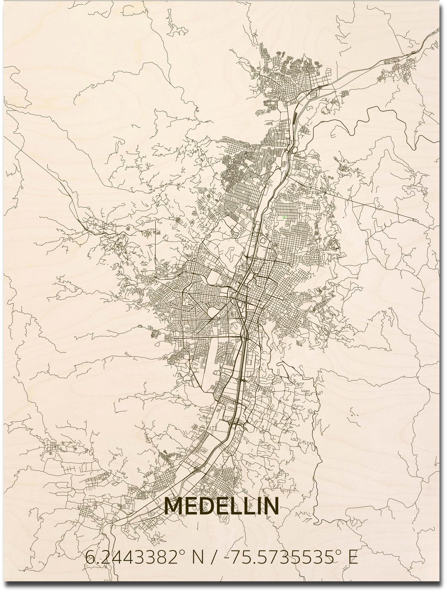 Stadtplan Medellin | Wanddekoration Holz-1