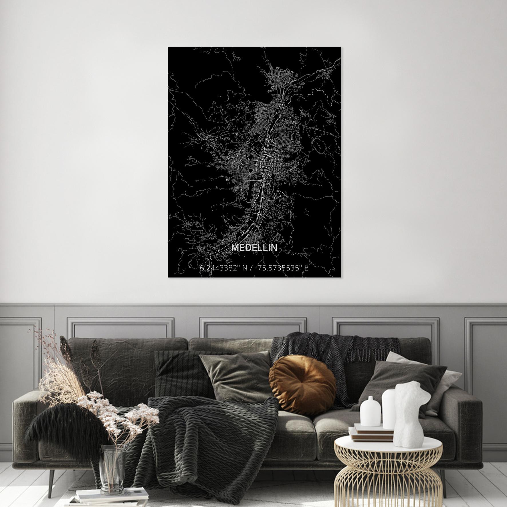 Stadtkarte Medellin | Aluminium Wanddekoration-2