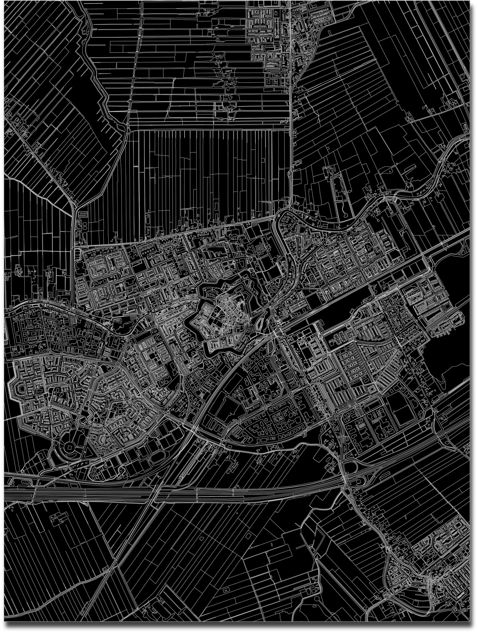 Stadtkarte Woerden | Aluminium Wanddekoration-3