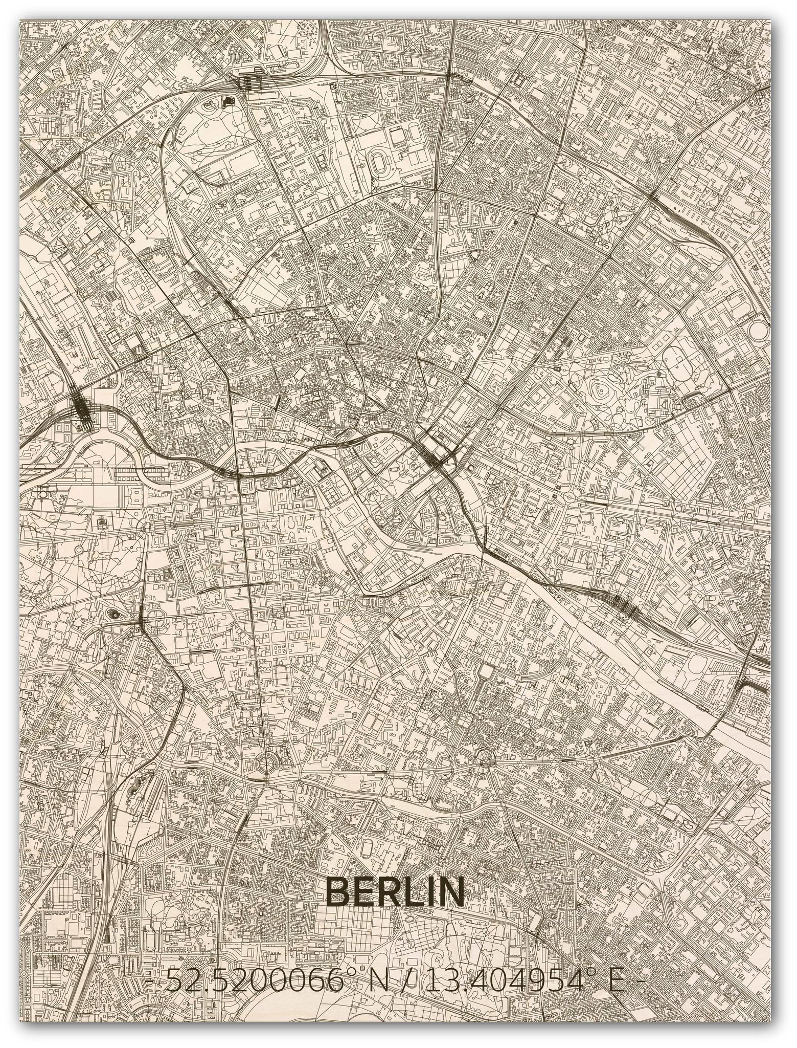 Wall decoration Citymap Berlin | Wooden wall panel-1
