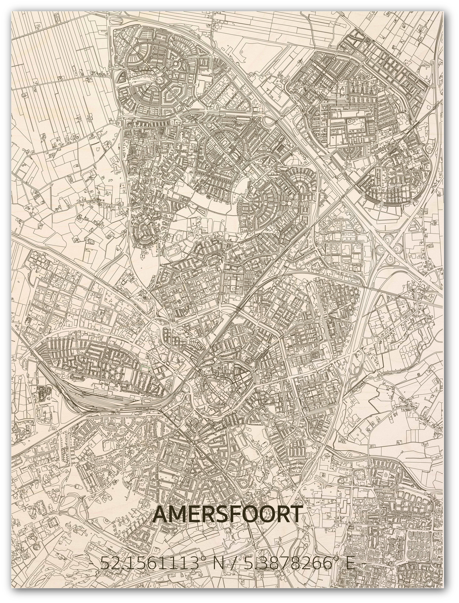 Citymap Amersfoort | houten wanddecoratie-1