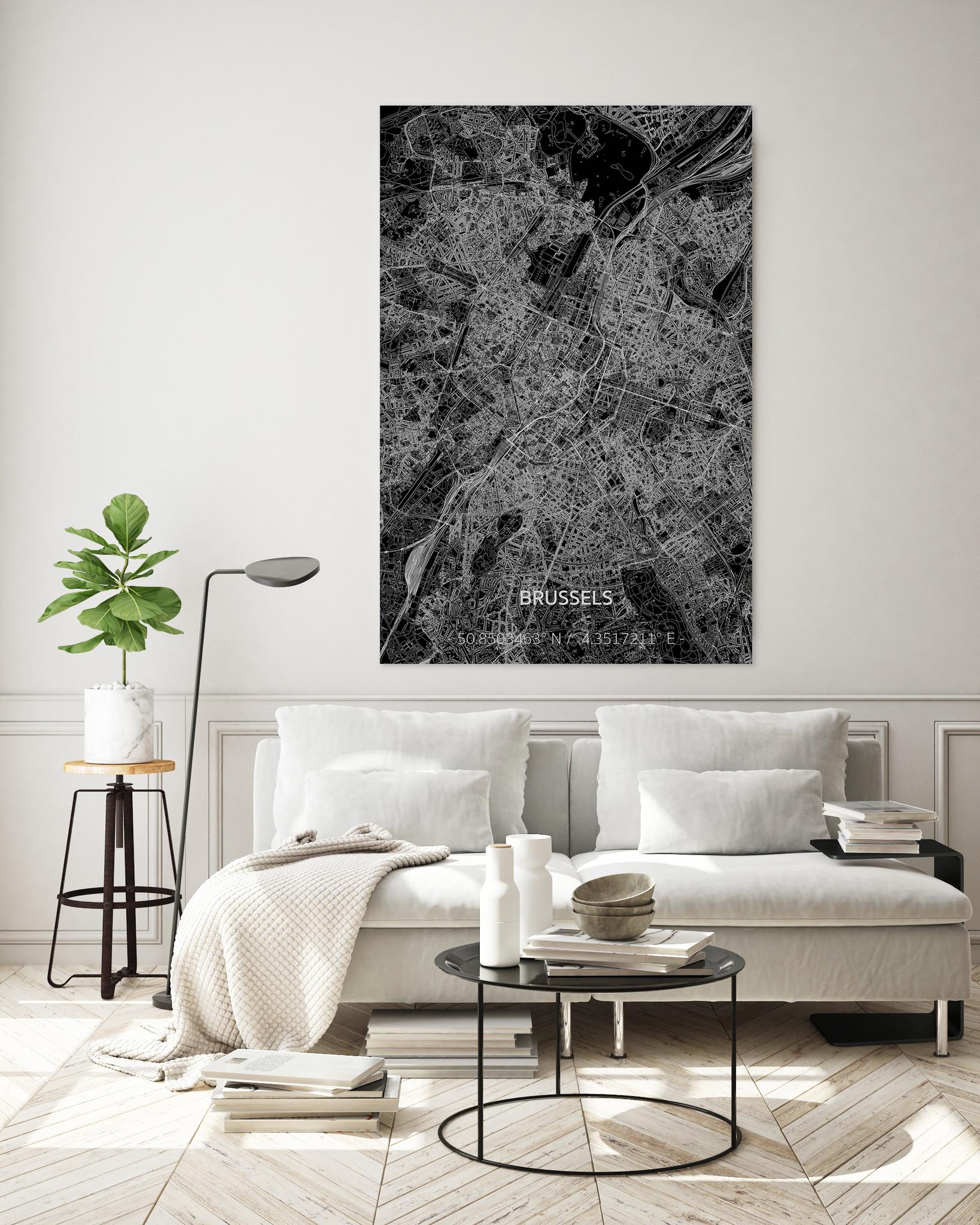 Citymap Brussel XL | Aluminium wanddecoratie-2