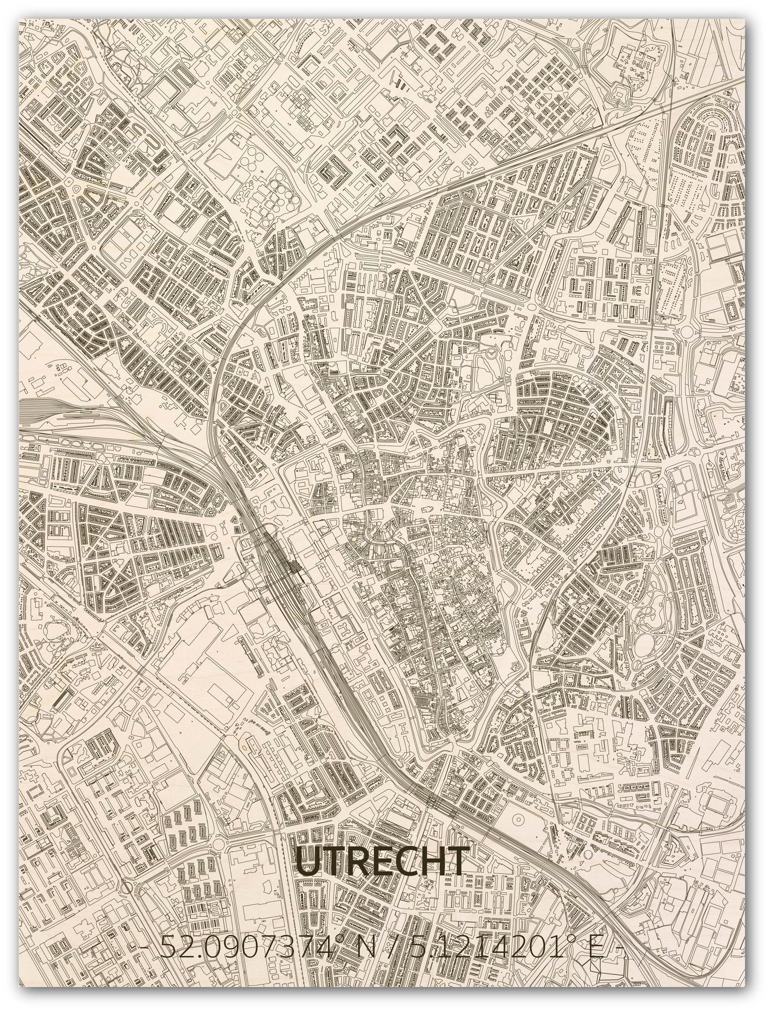 Wall decoration Citymap Utrecht | Wooden wall panel-1