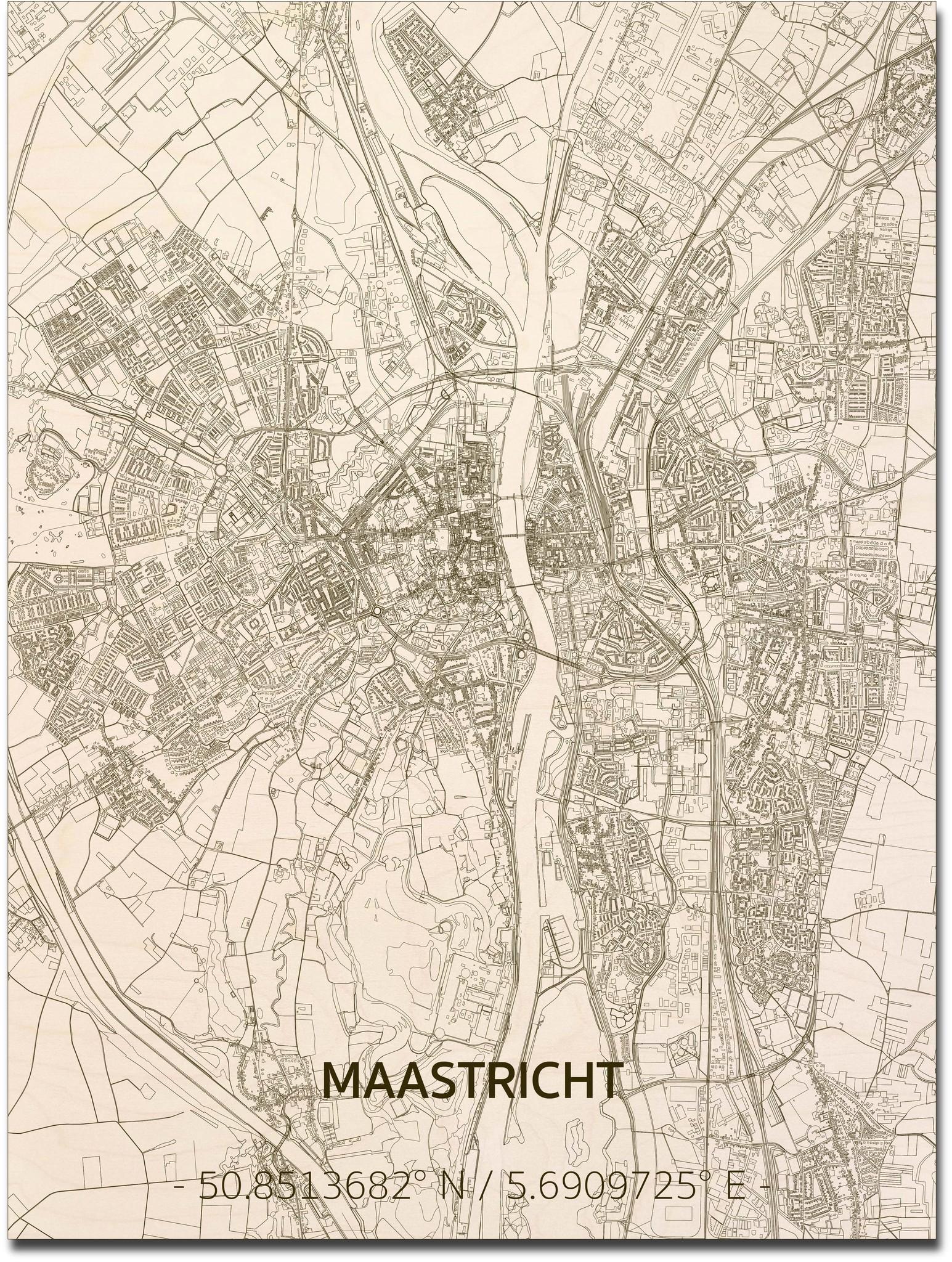 Stadtplan Maastricht | Wanddekoration Holz-1