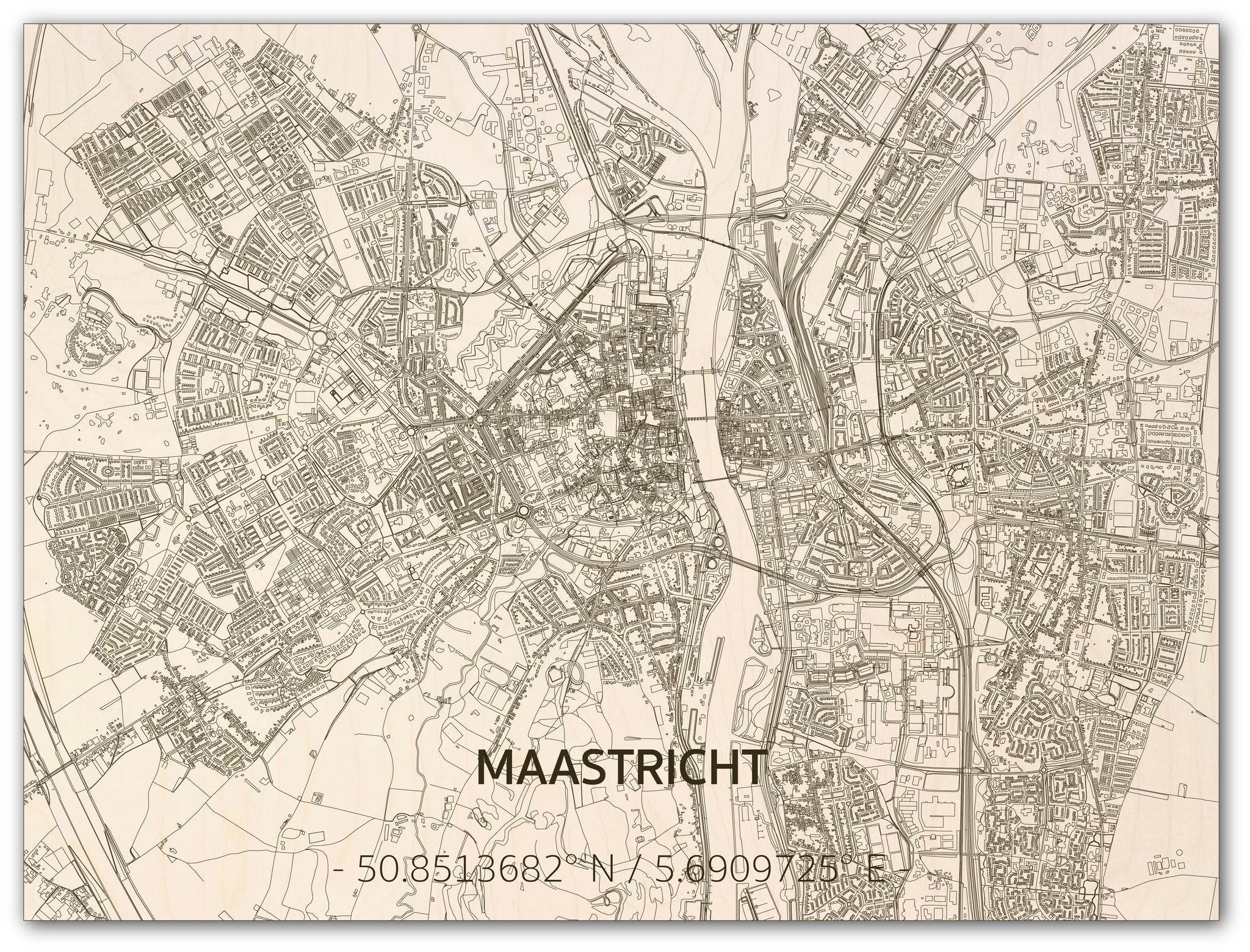 Stadtplan Maastricht | Wanddekoration Holz-3