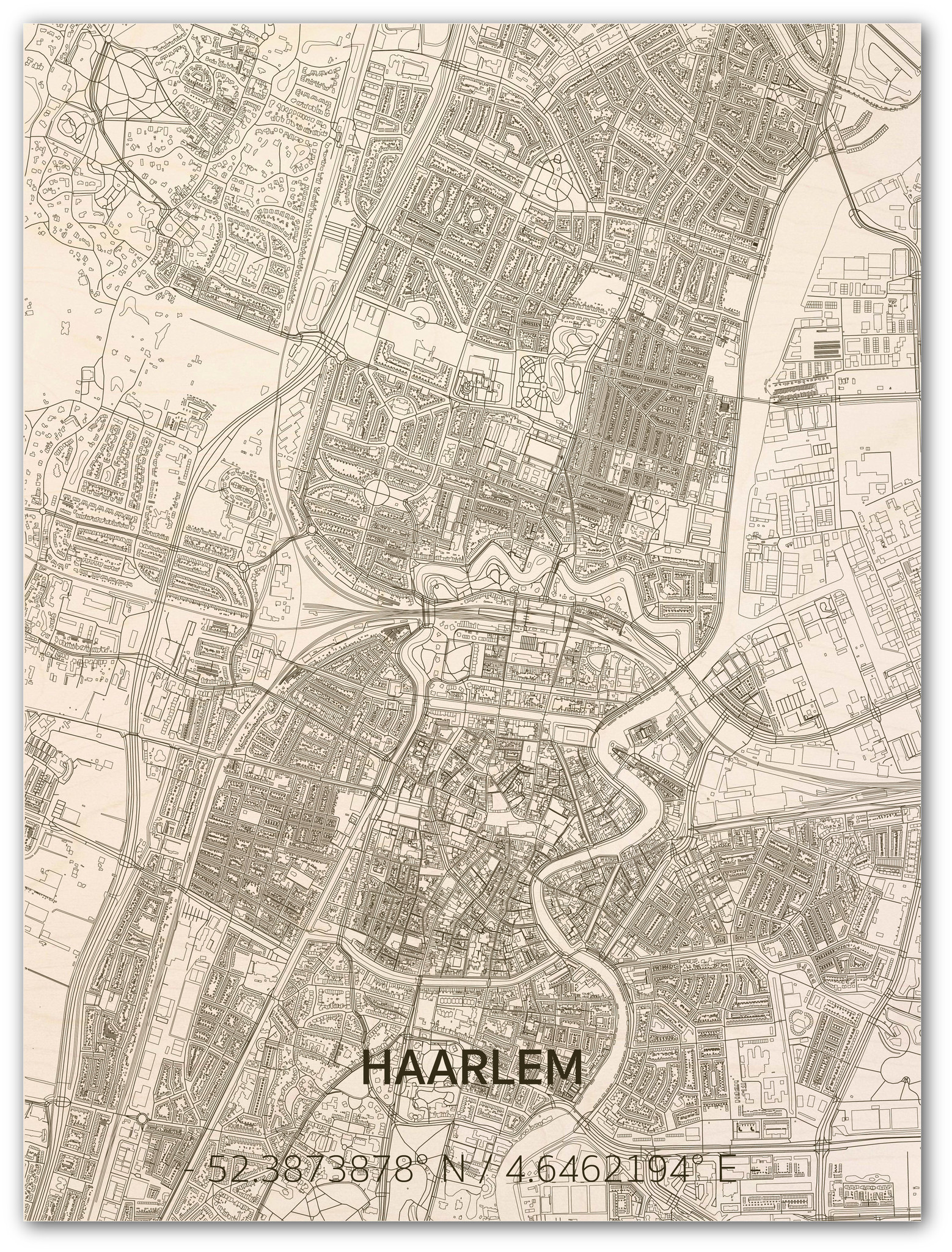 Stadtplan Haarlem | Wanddekoration Holz-1