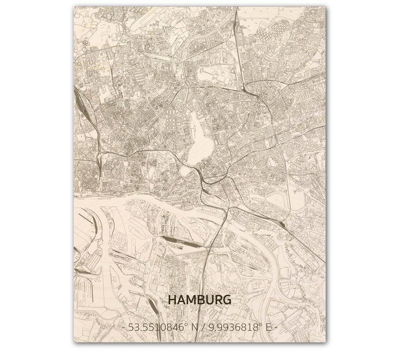 Stadtkarte Hamburg | Wanddekoration Holz