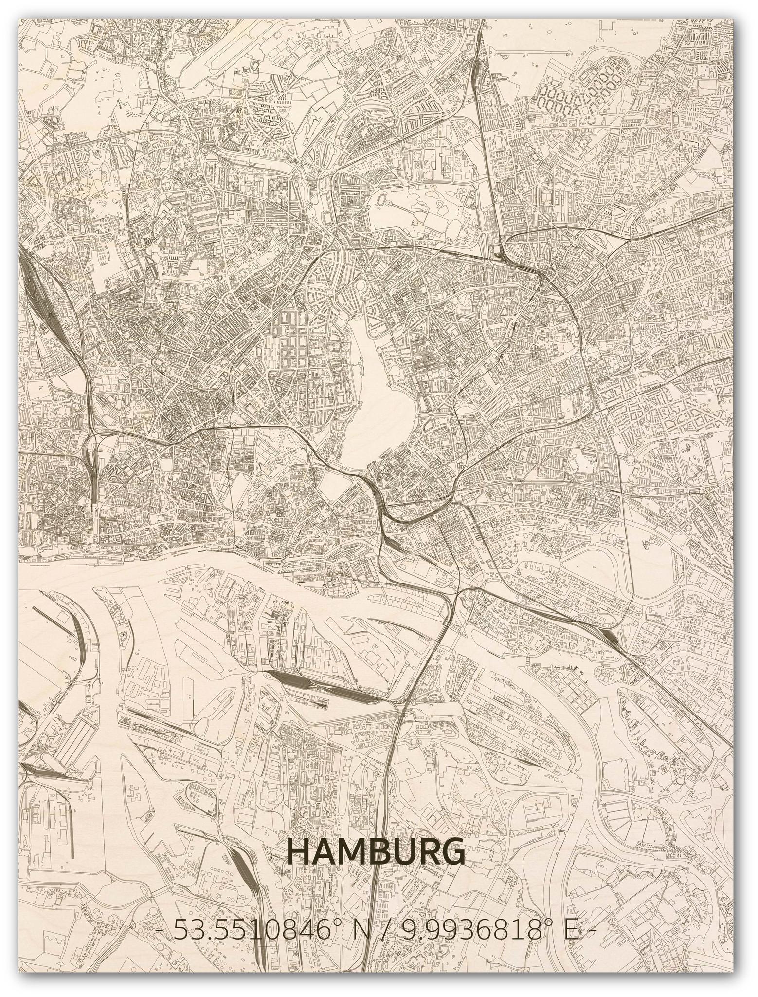 Wall decoration Citymap Hamburg | Wooden wall panel-1