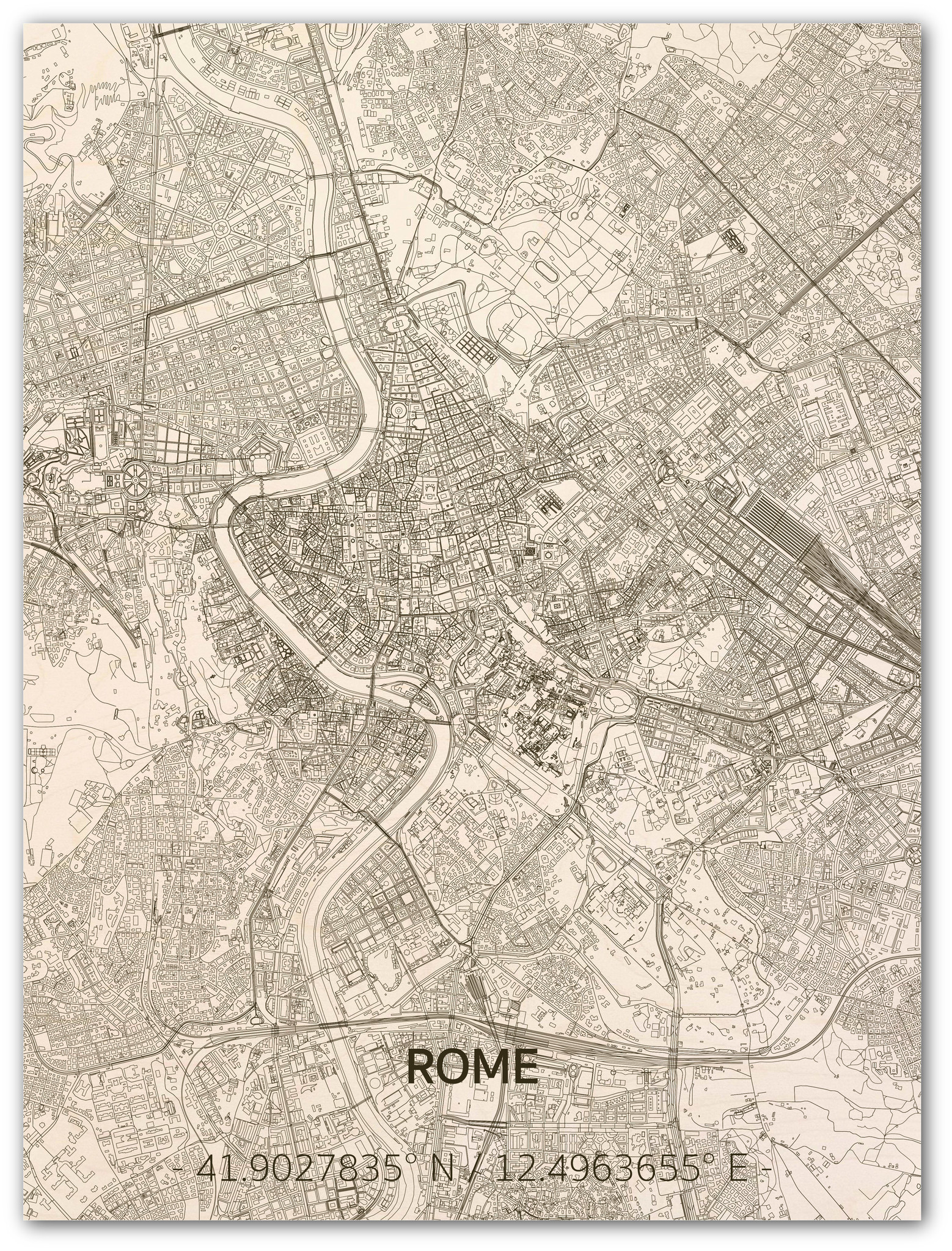 WOODEN WALL DECORATION ROME CITYMAP-1
