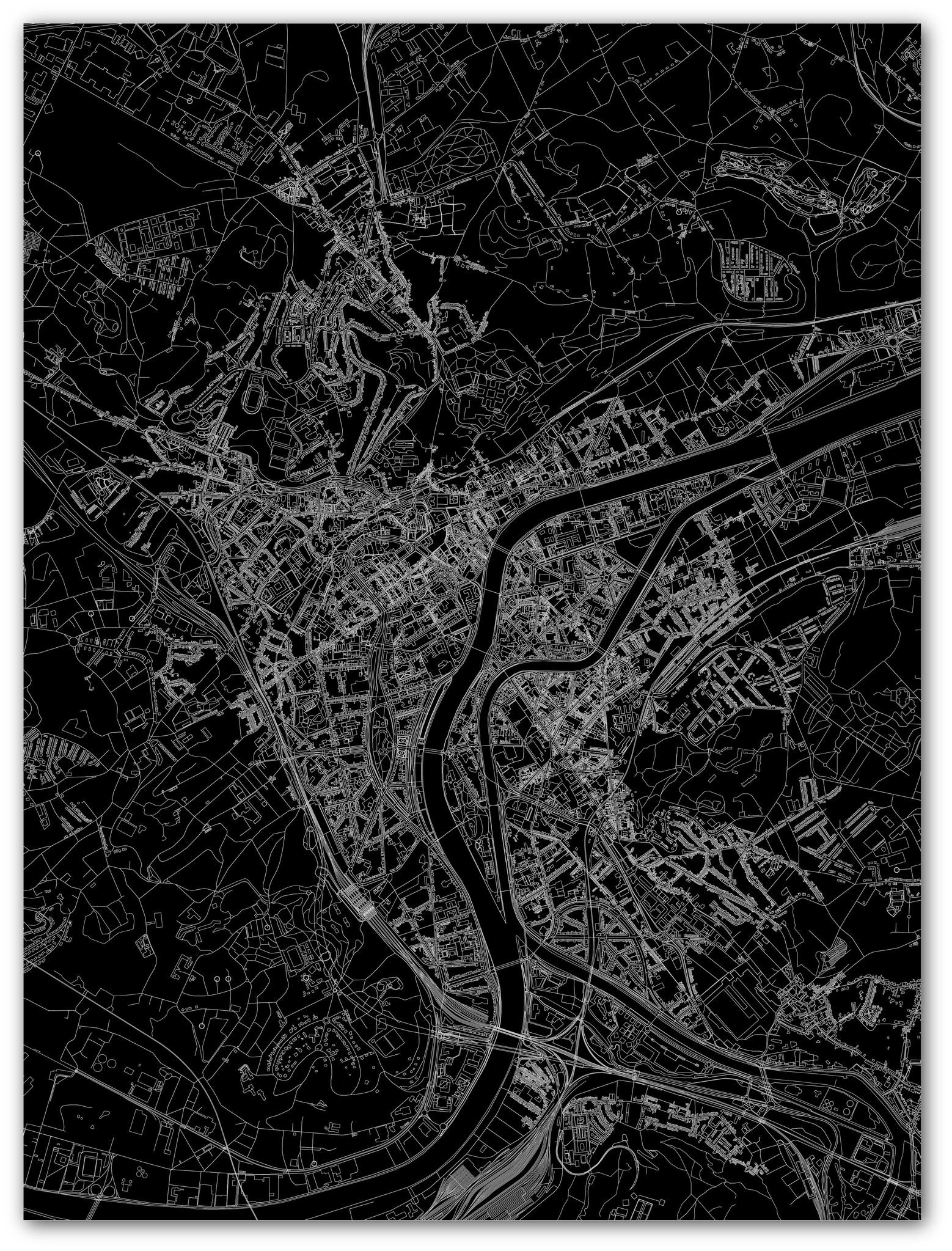 Stadtkarte Luik | Aluminium Wanddekoration-3