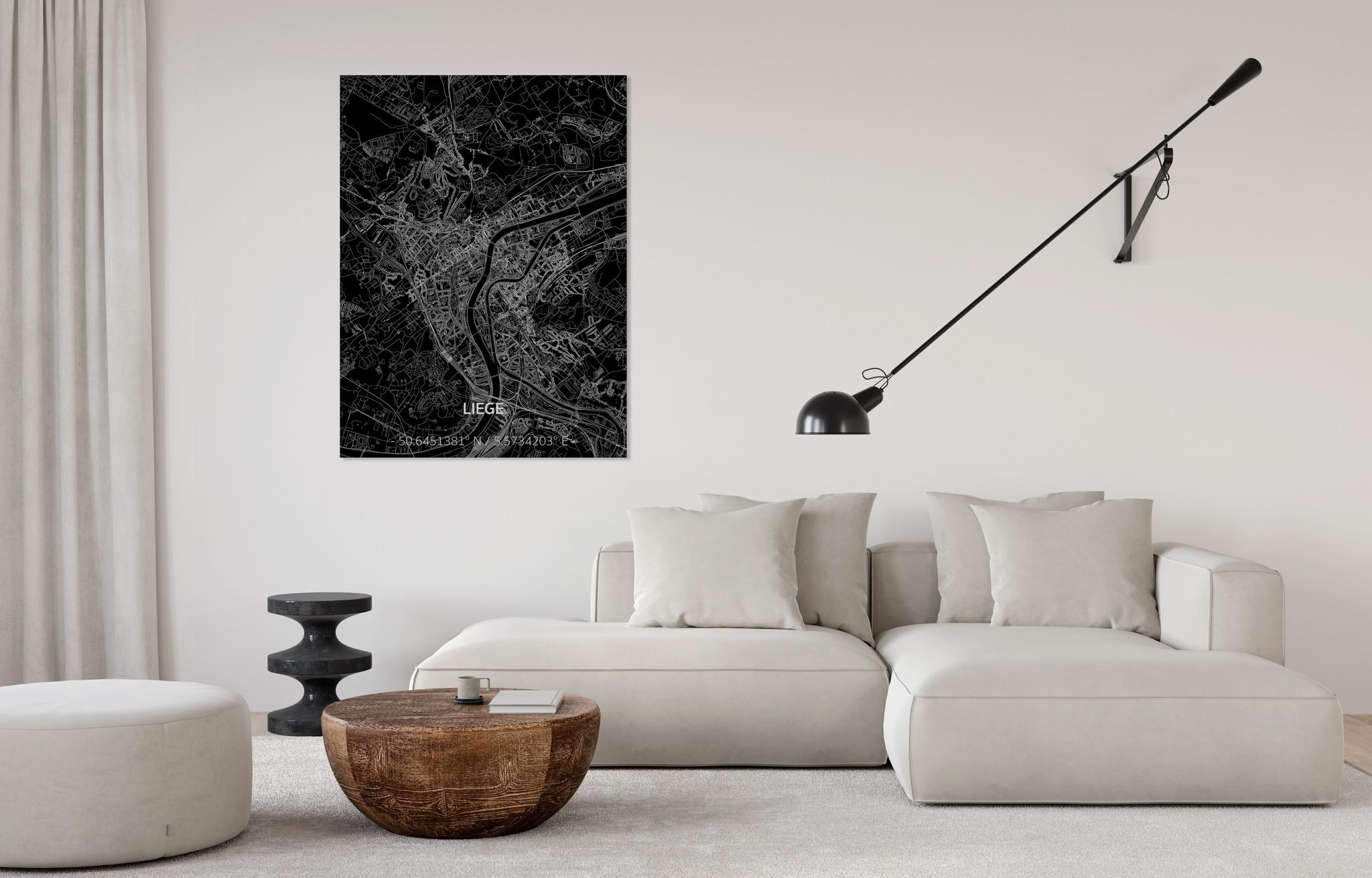 Stadtkarte Luik | Aluminium Wanddekoration-2