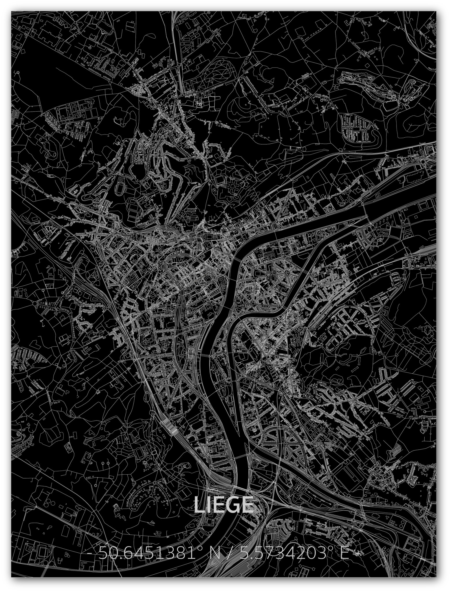Stadtkarte Luik | Aluminium Wanddekoration-1
