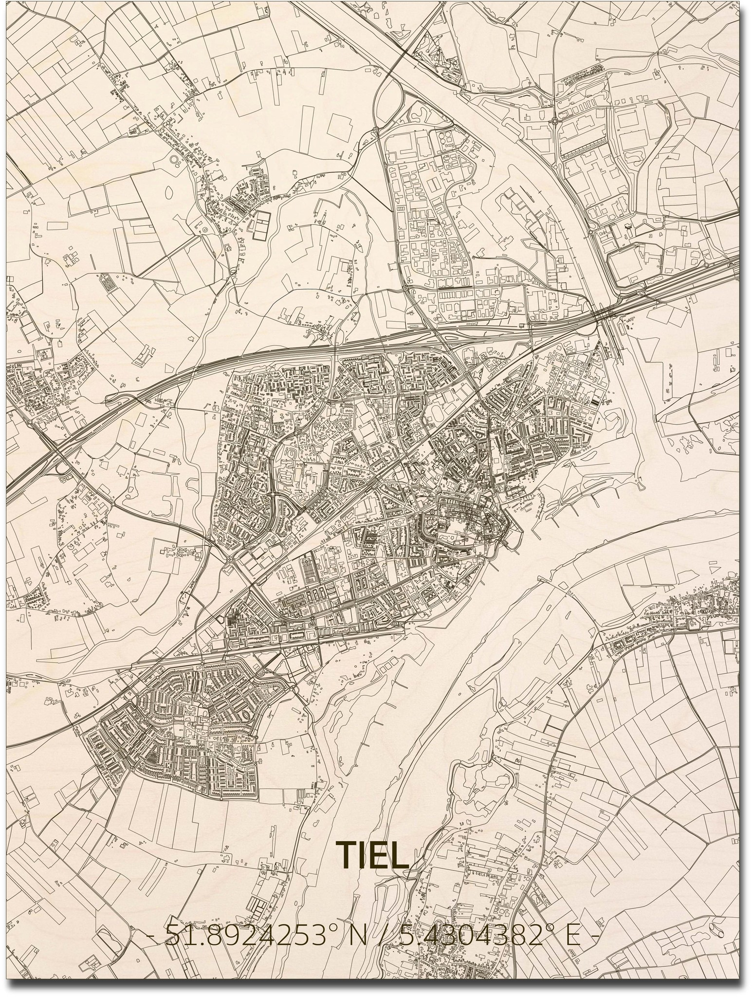 Stadtplan Tiel | Wanddekoration Holz-1