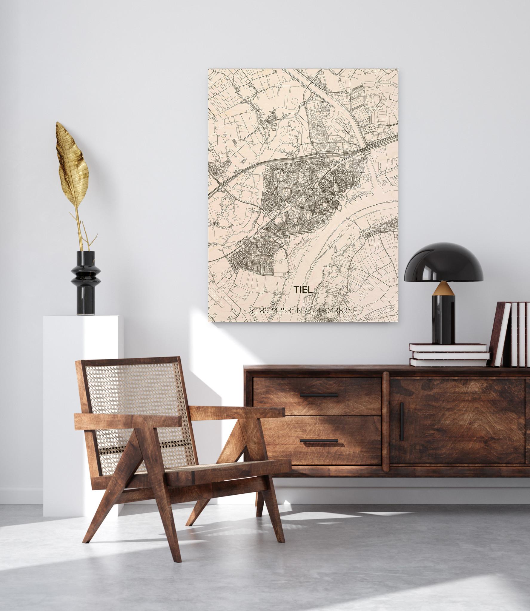 Stadtplan Tiel | Wanddekoration Holz-2