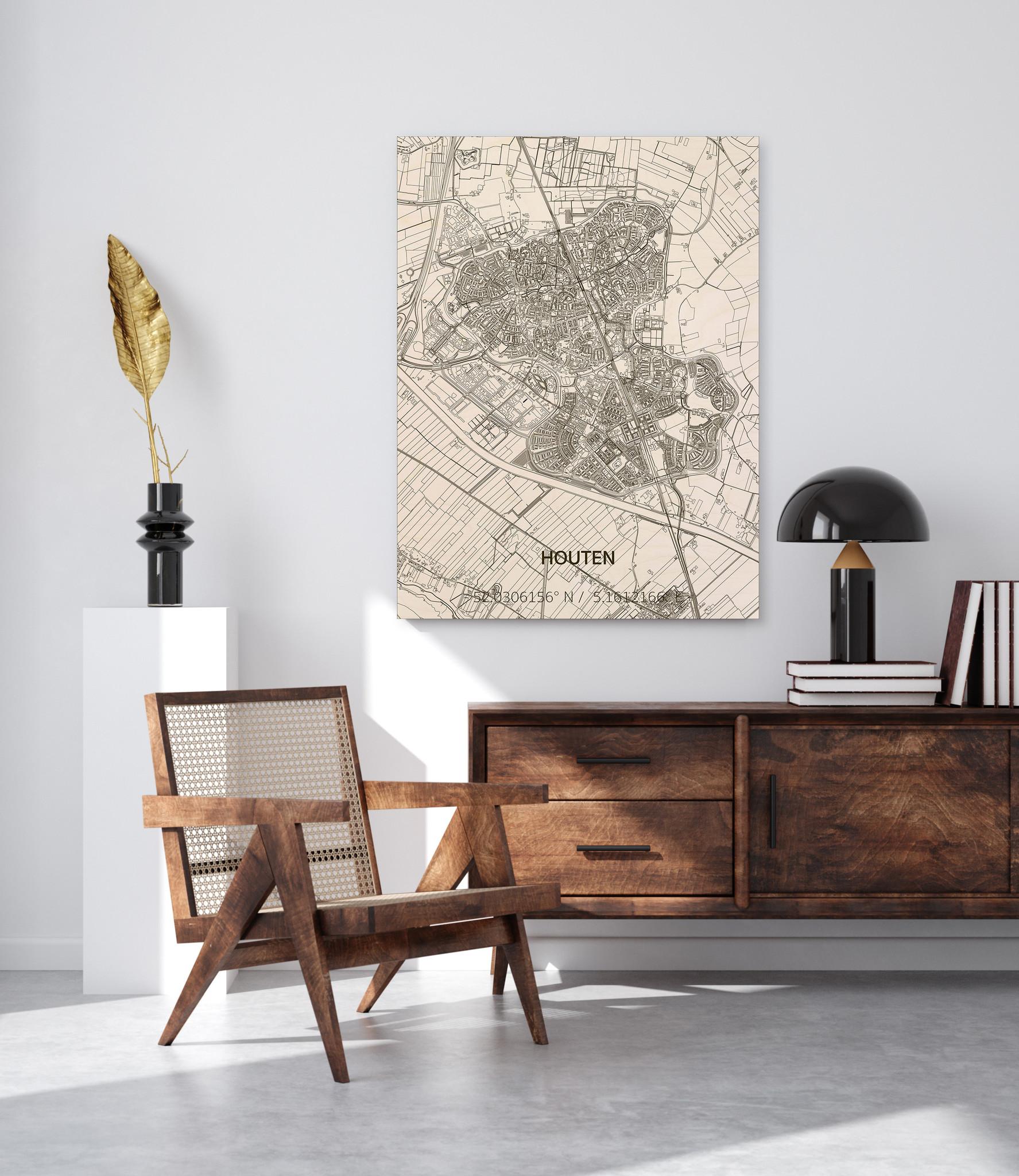 Citymap Houten | houten wanddecoratie-2