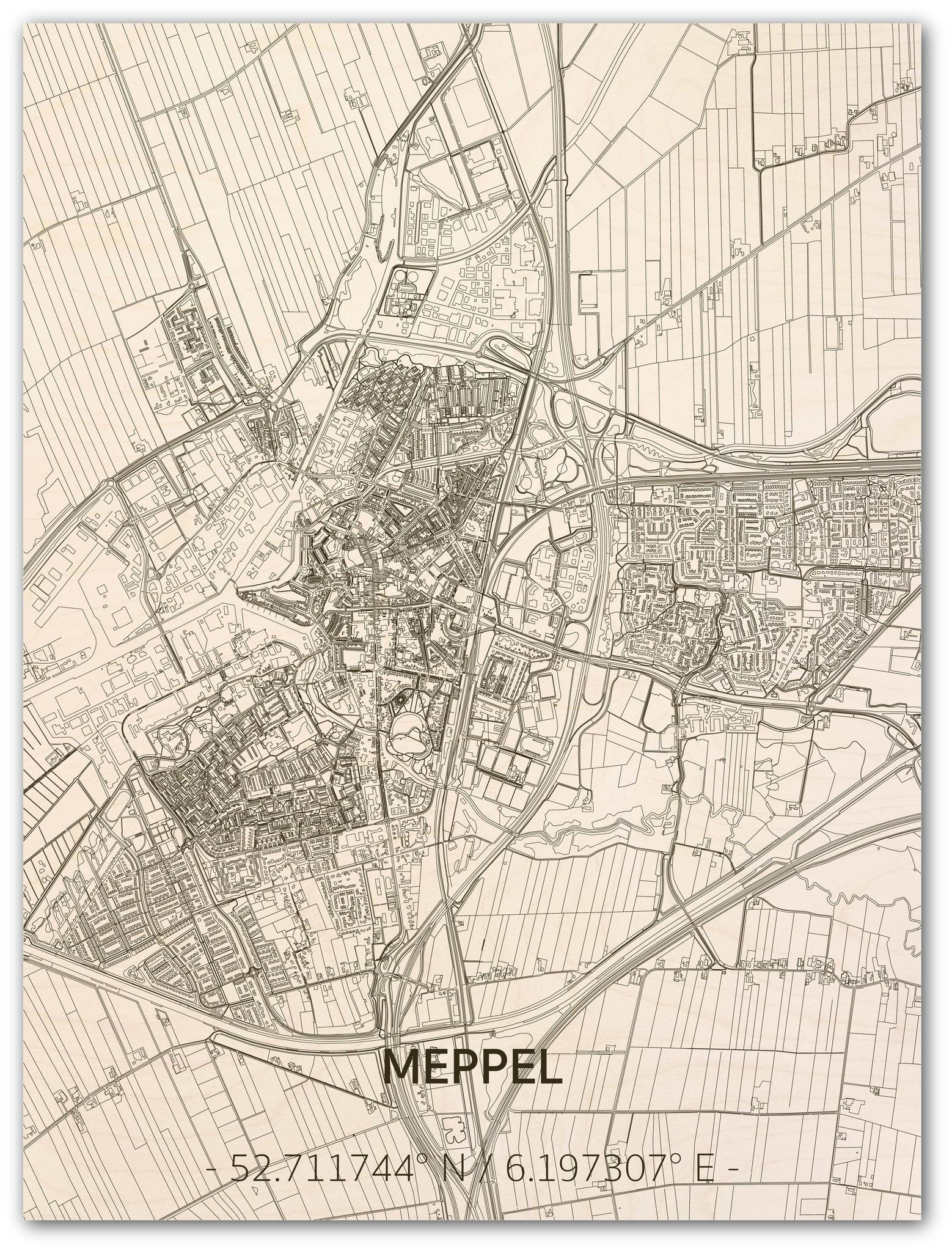 Stadtplan Meppel | Wanddekoration Holz-1