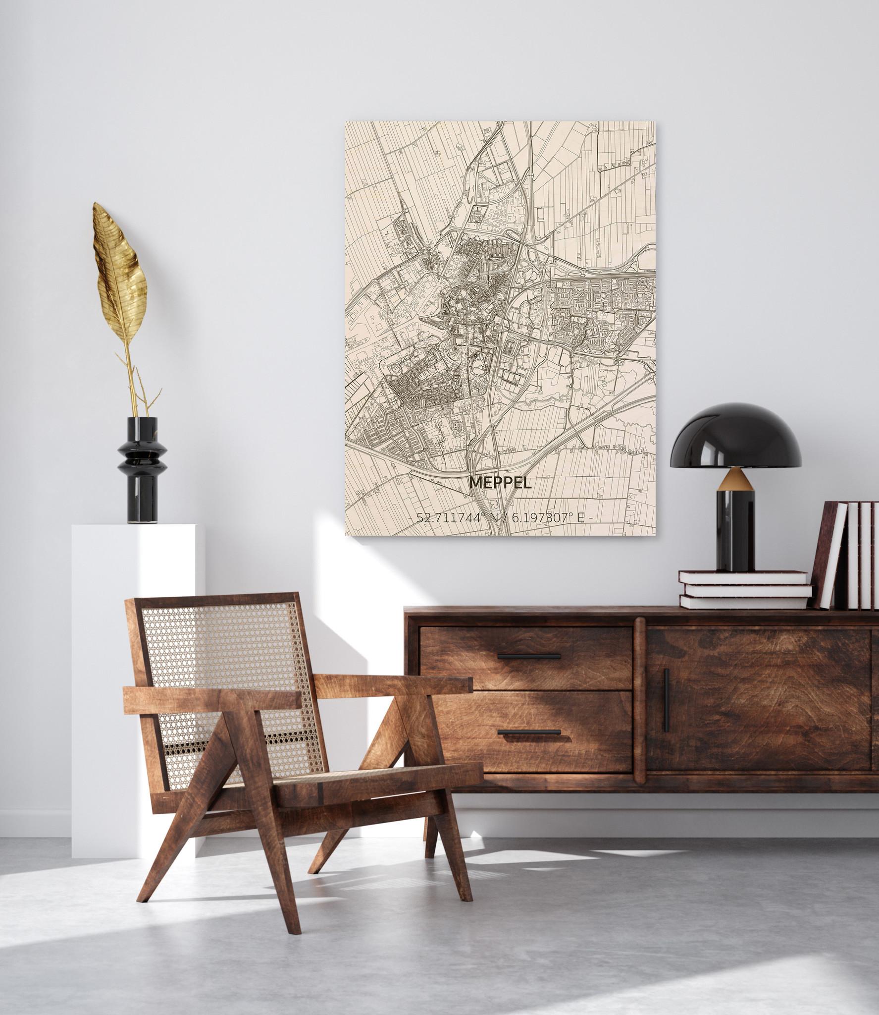 Stadtplan Meppel | Wanddekoration Holz-2