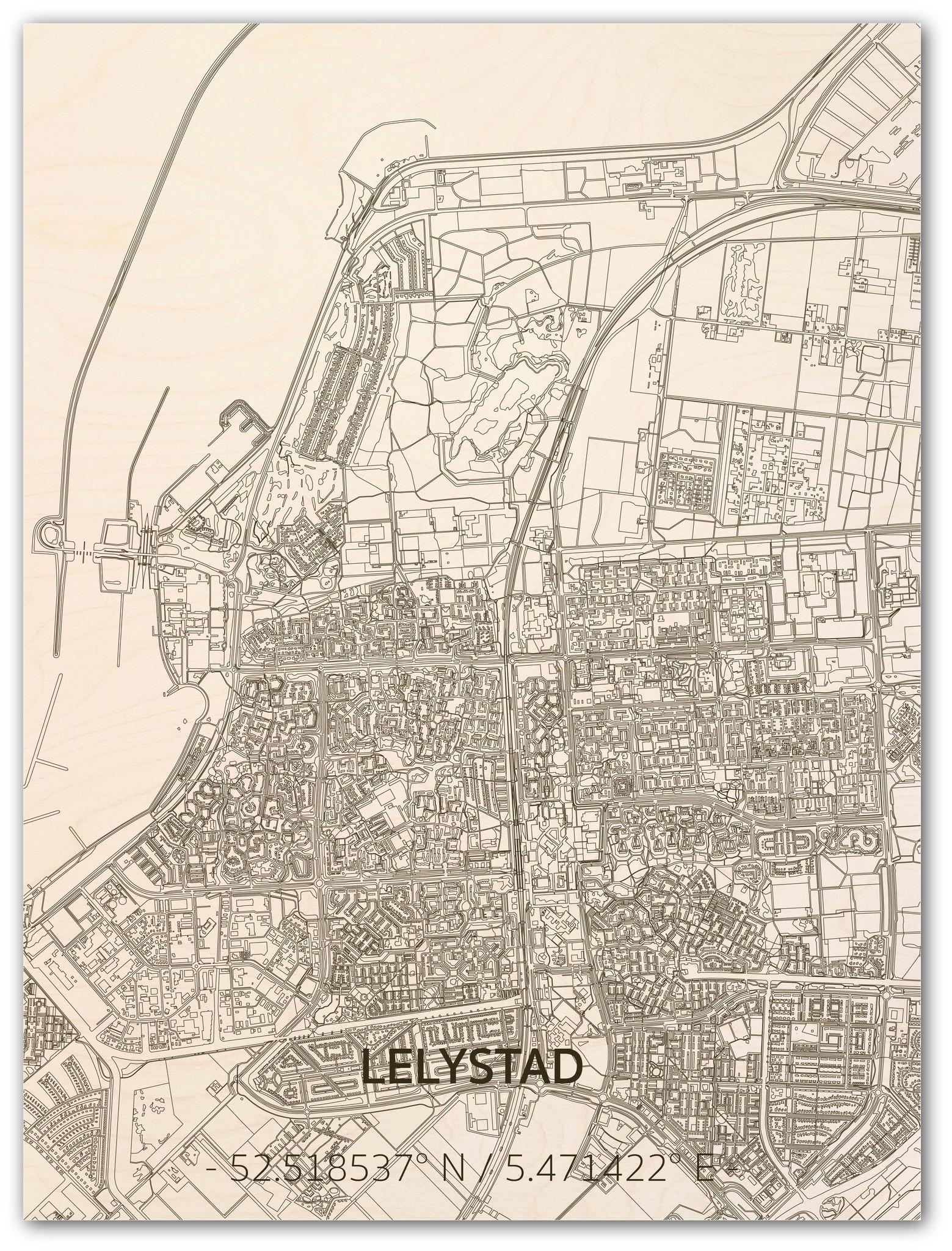 Citymap Lelystad | houten wanddecoratie-1