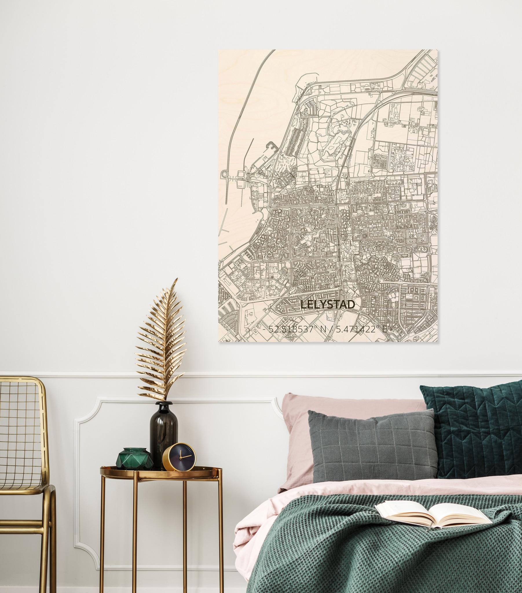 Citymap Lelystad | houten wanddecoratie-2