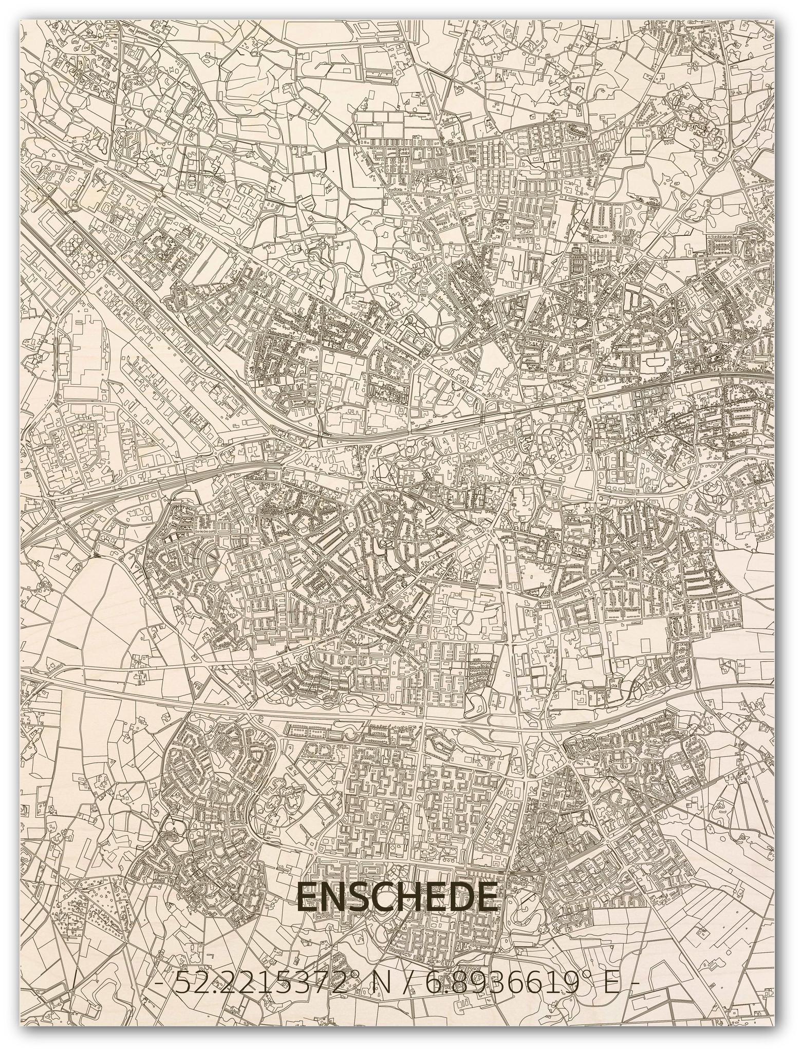 Citymap Enschede | houten wanddecoratie-1