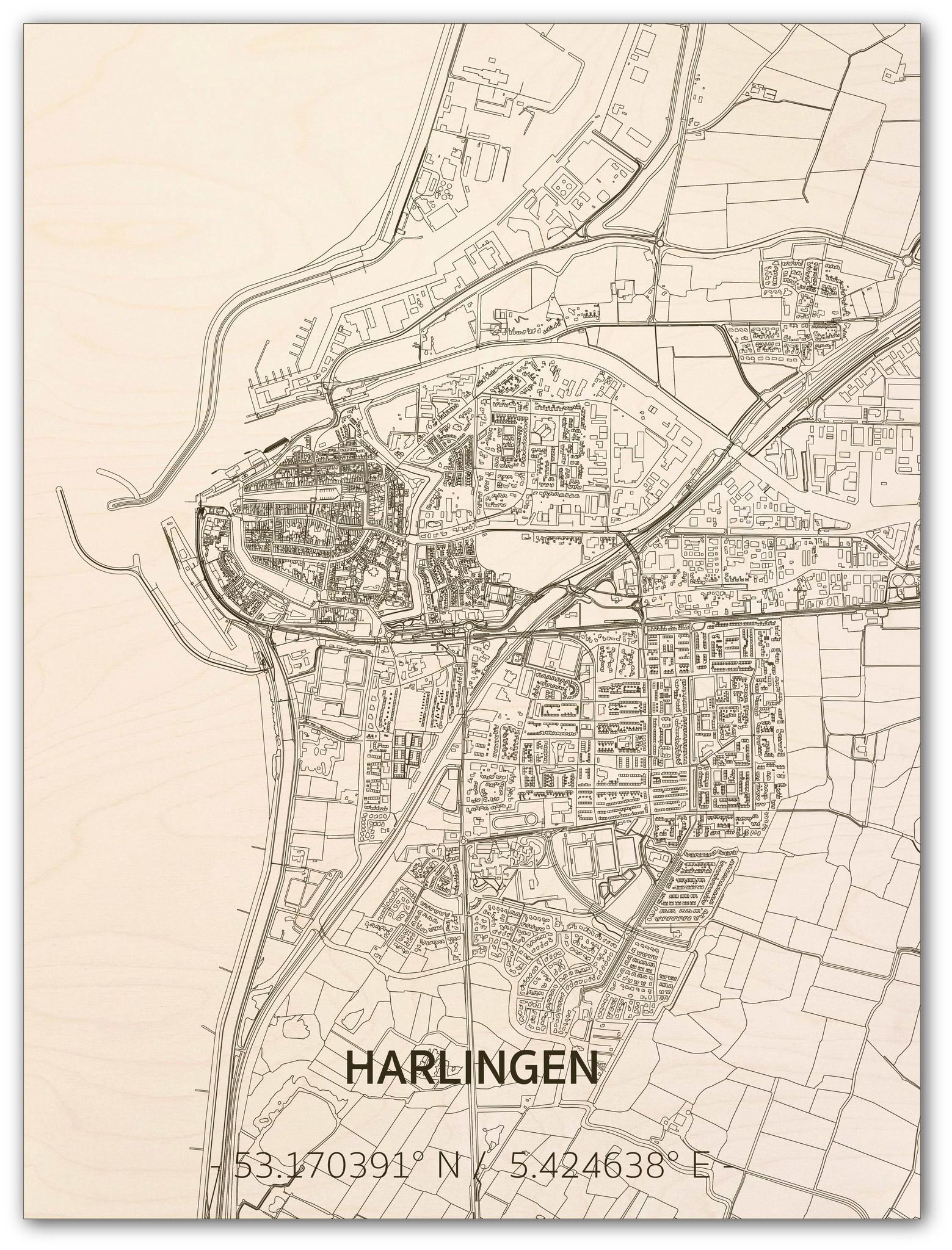 Stadtplan Harlingen | Wanddekoration Holz-1