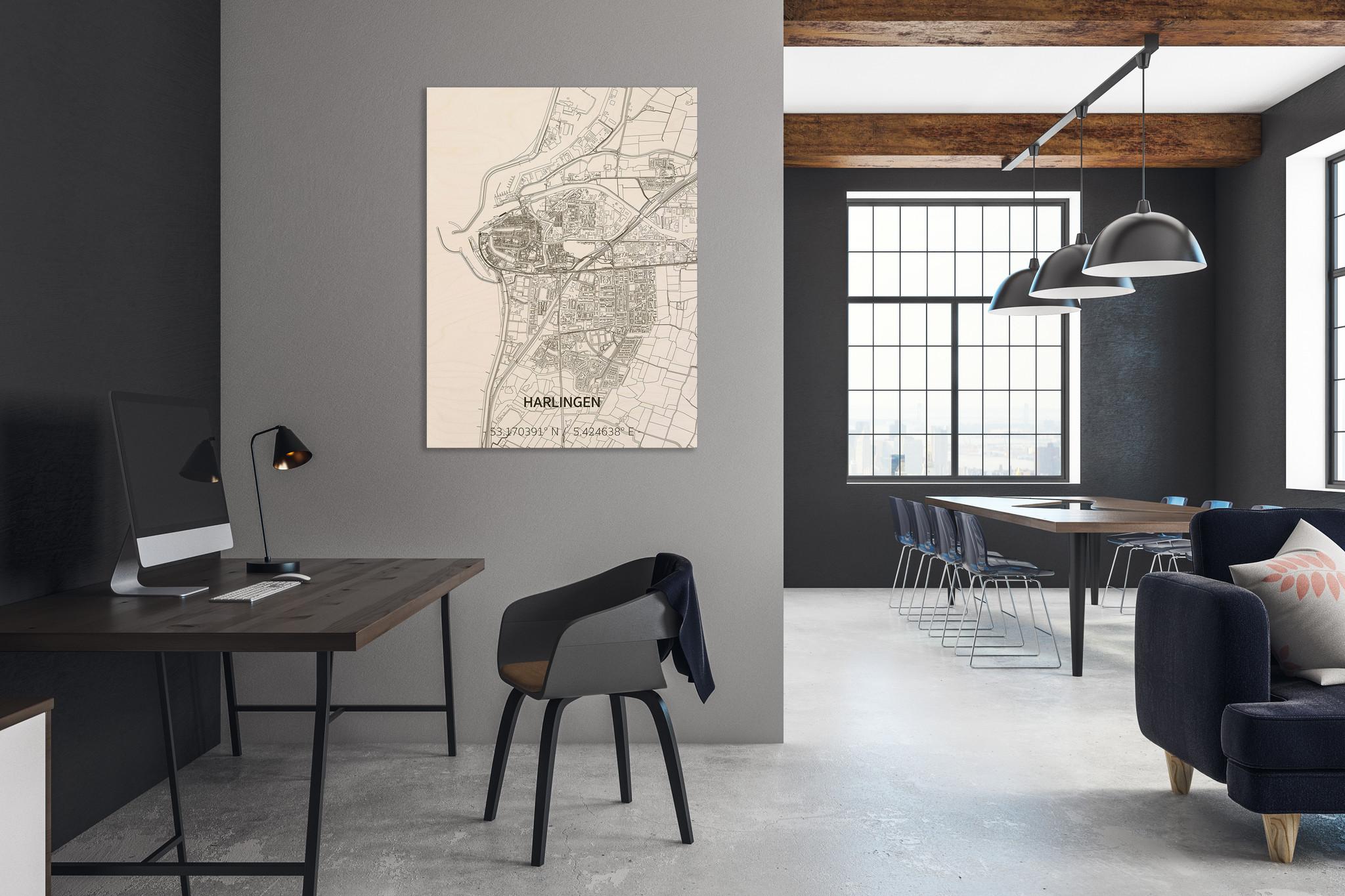 Stadtplan Harlingen | Wanddekoration Holz-2
