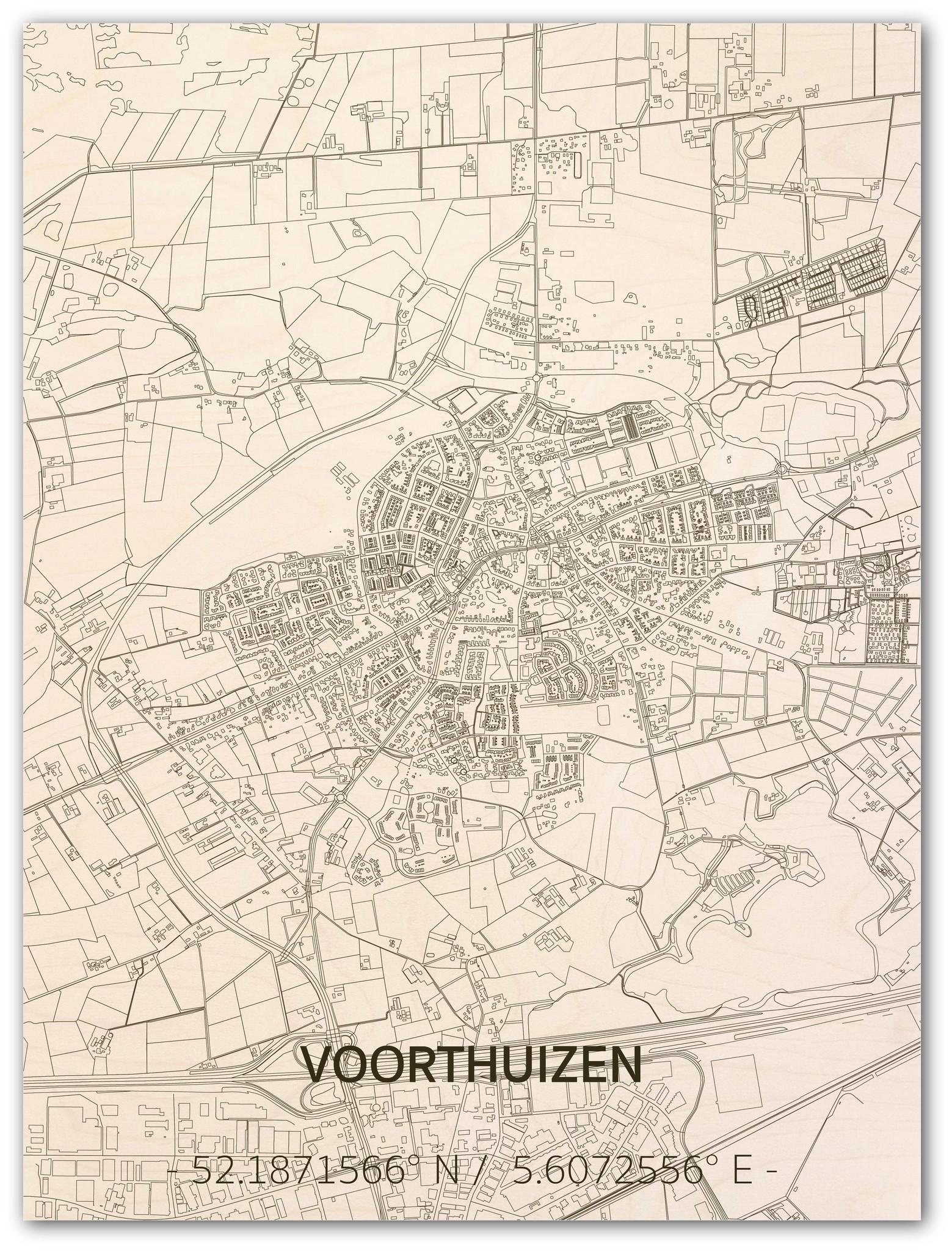 Stadtplan Voorthuizen | Wanddekoration Holz-1