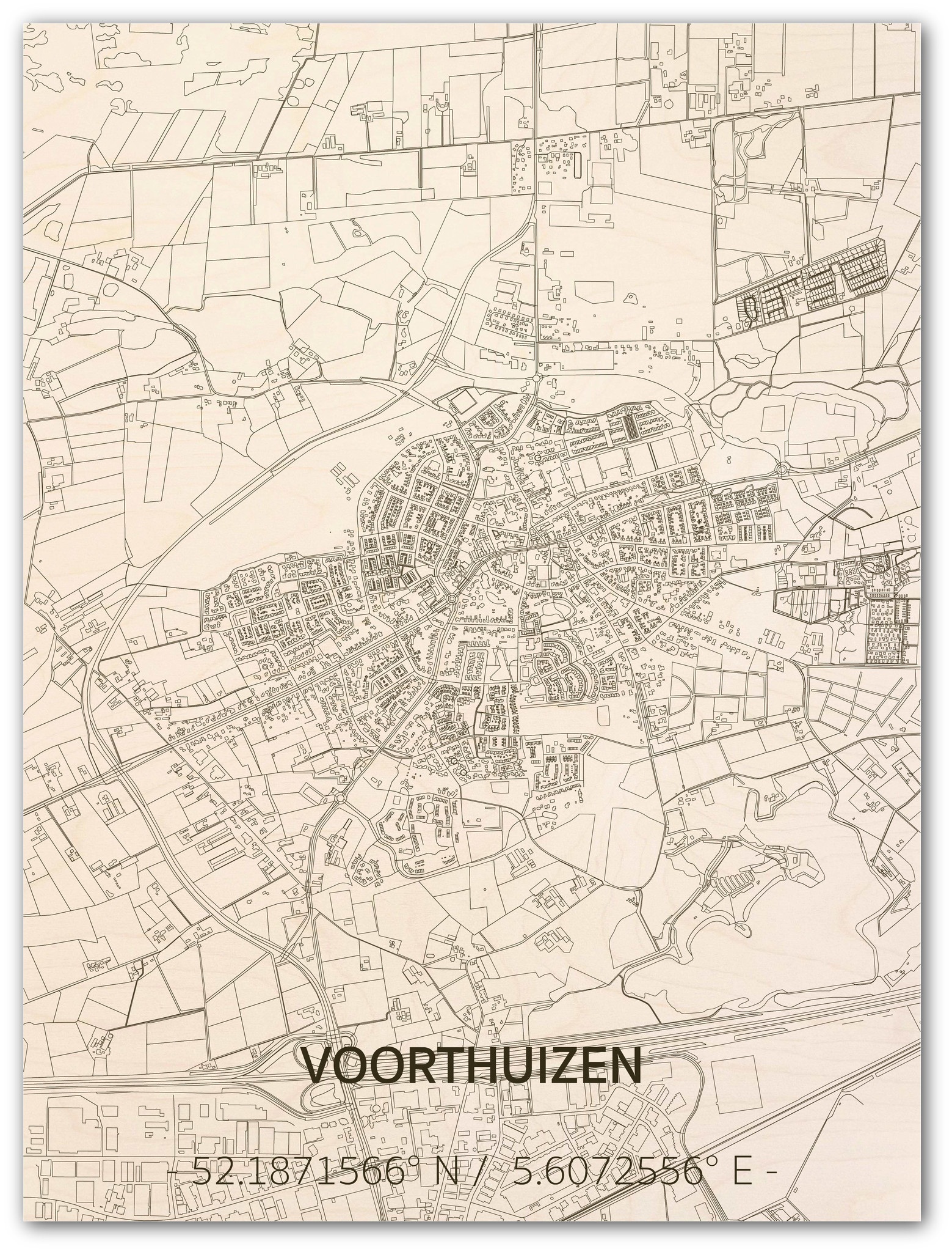 Citymap Voorthuizen | houten wanddecoratie-1