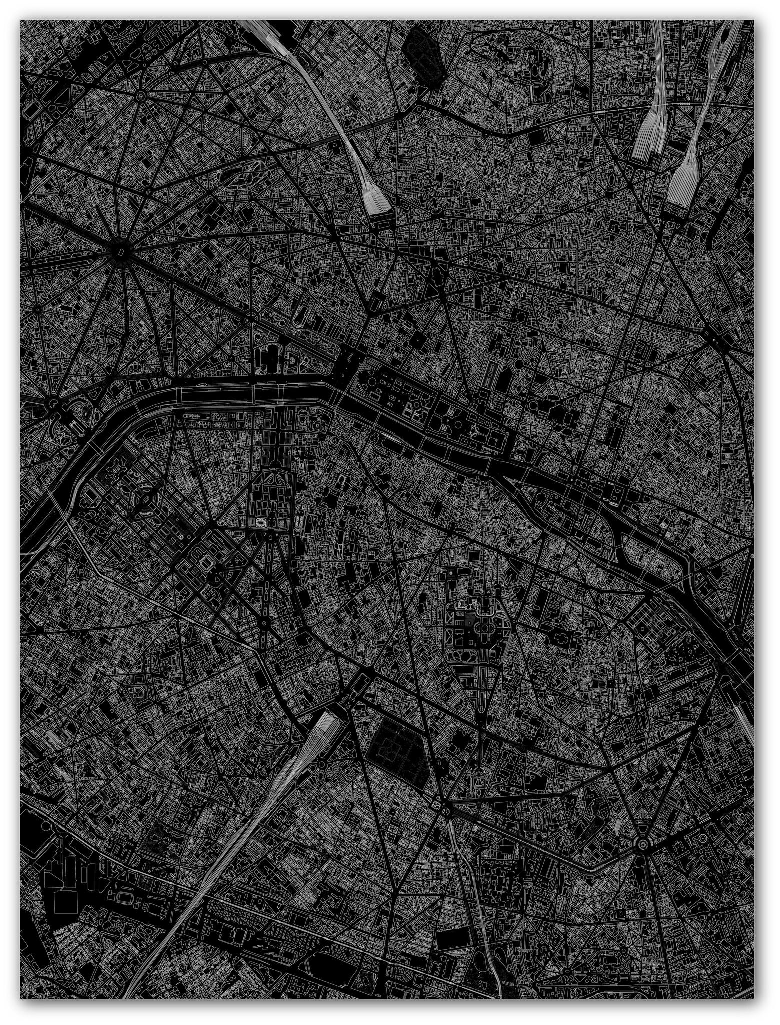 Citymap Paris | Aluminium Wanddekoration-3