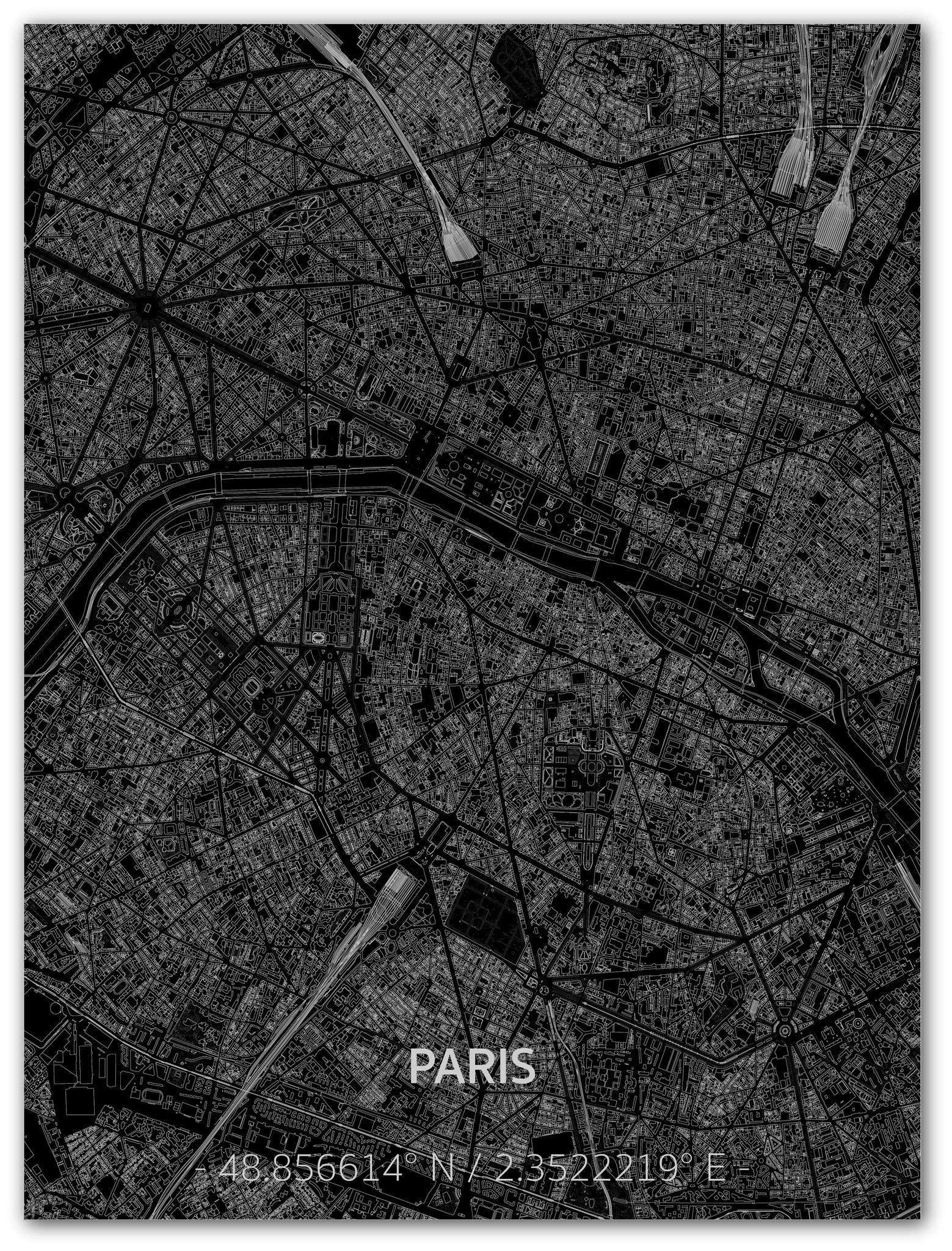 Citymap Paris | Aluminium Wanddekoration-1