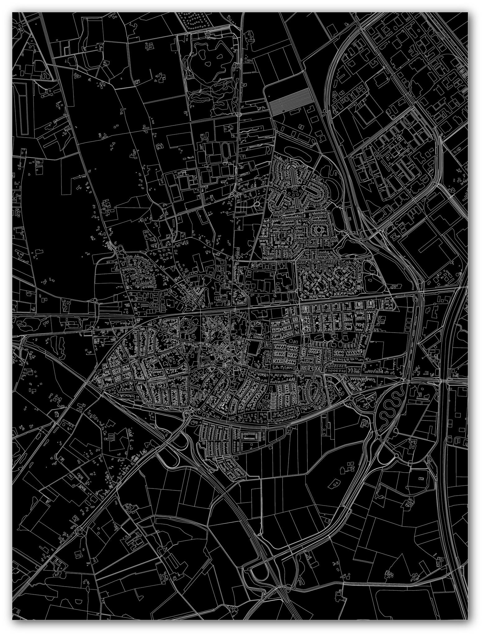 Stadtkarte Wierden | Aluminium Wanddekoration-4