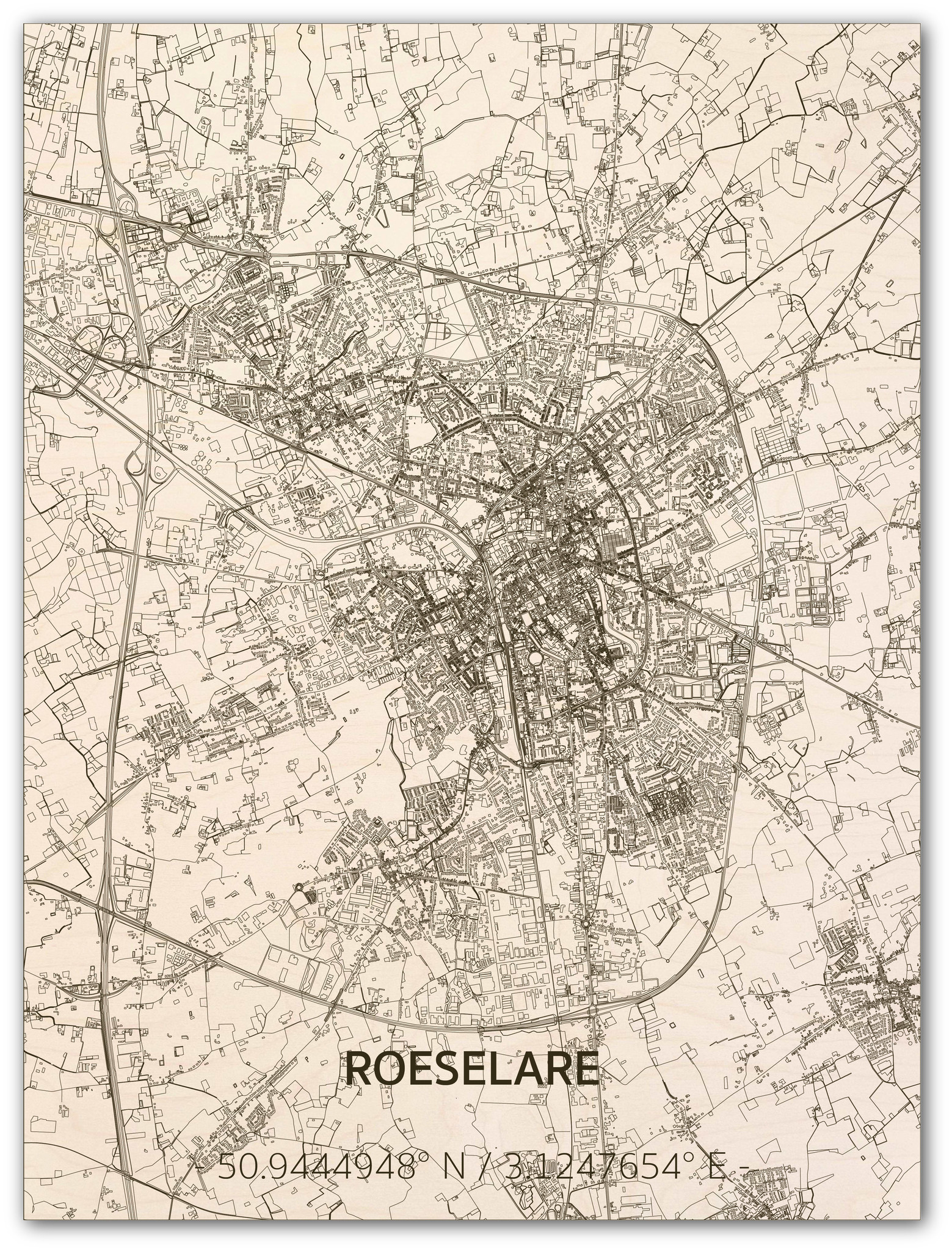 Citymap Roeselare | wooden wall decoration-1