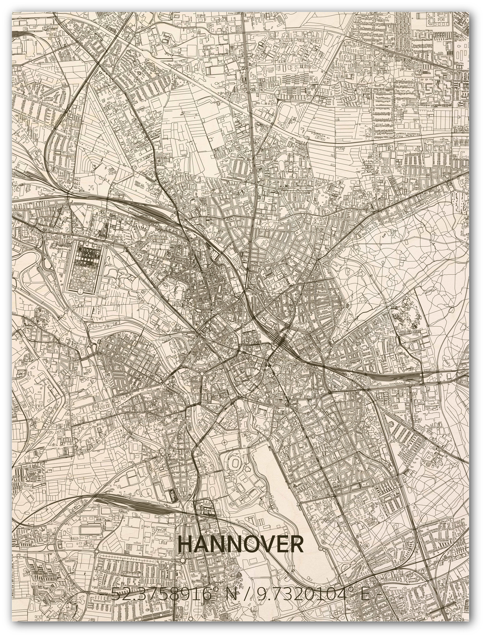 Stadtkarte Hannover | Wanddekoration Holz-1