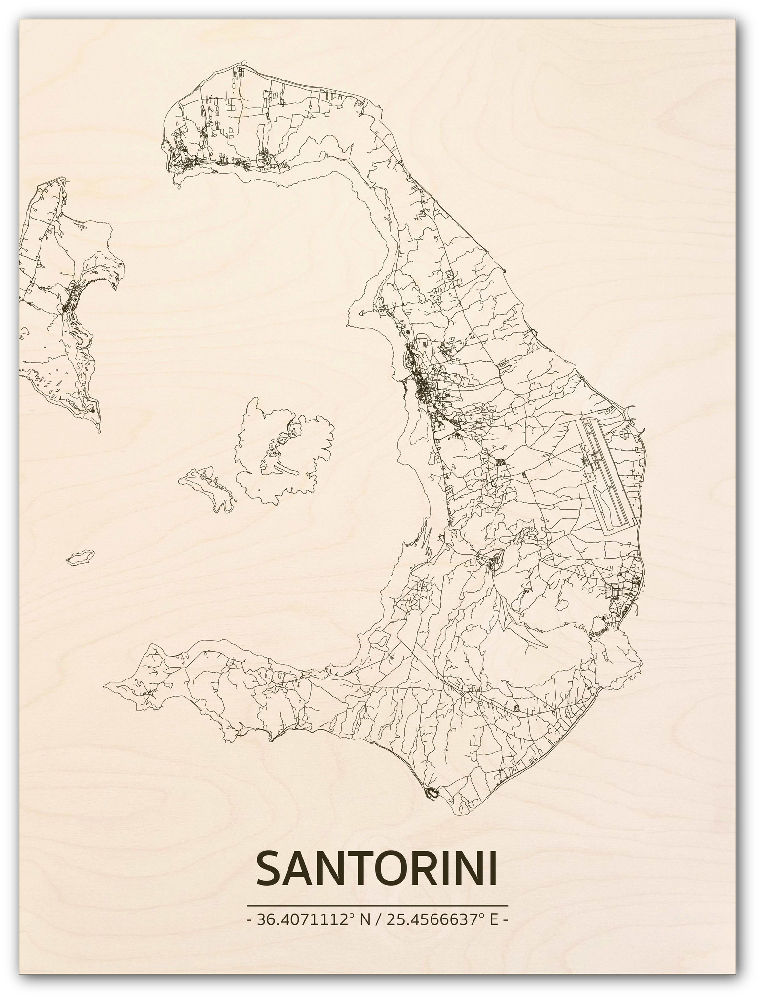 Stadtplan Santorini | Wanddekoration Holz-1