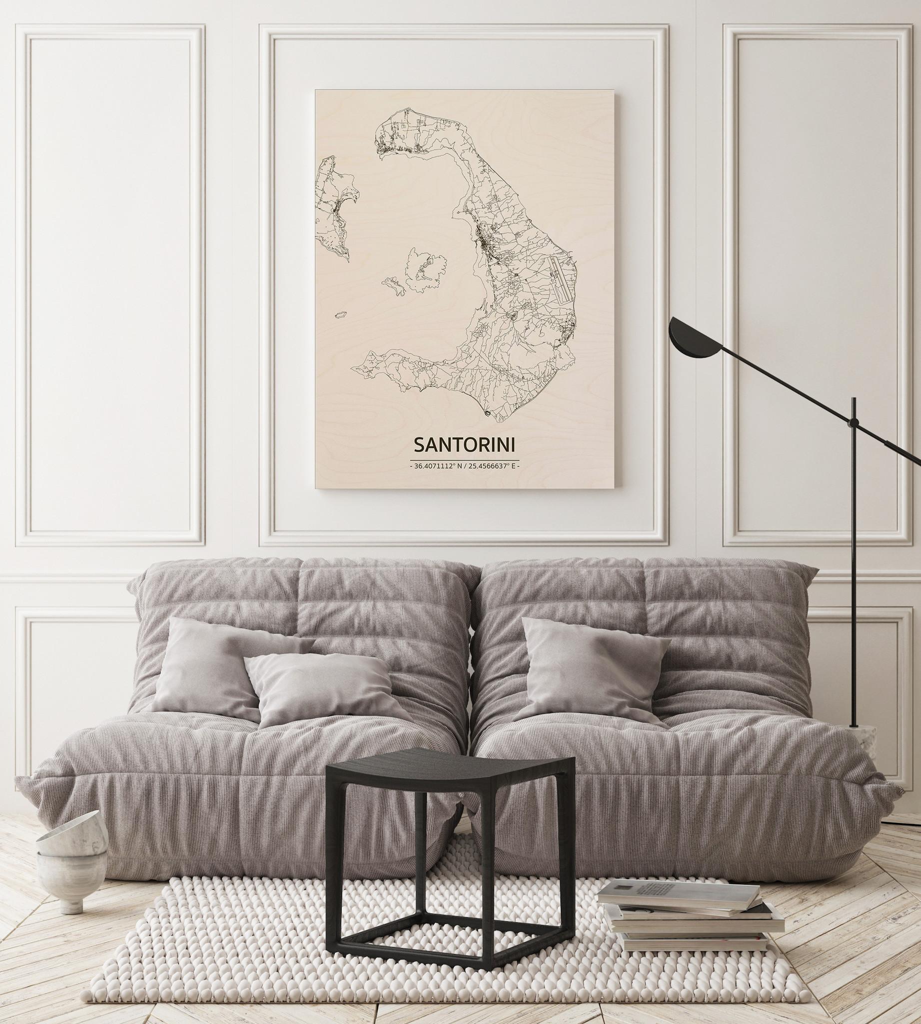 Stadtplan Santorini | Wanddekoration Holz-2