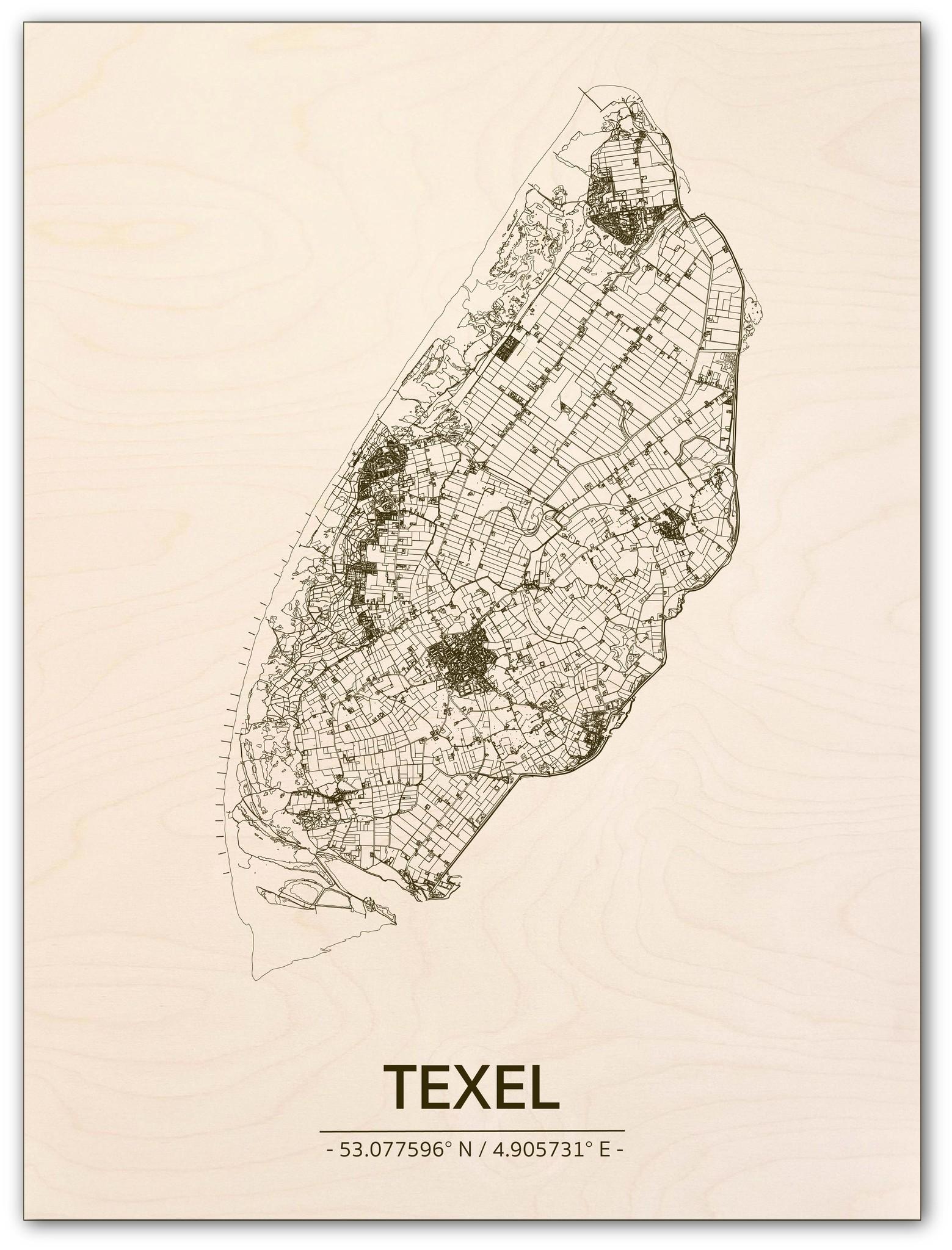 Stadtplan Texel | Wanddekoration Holz-1