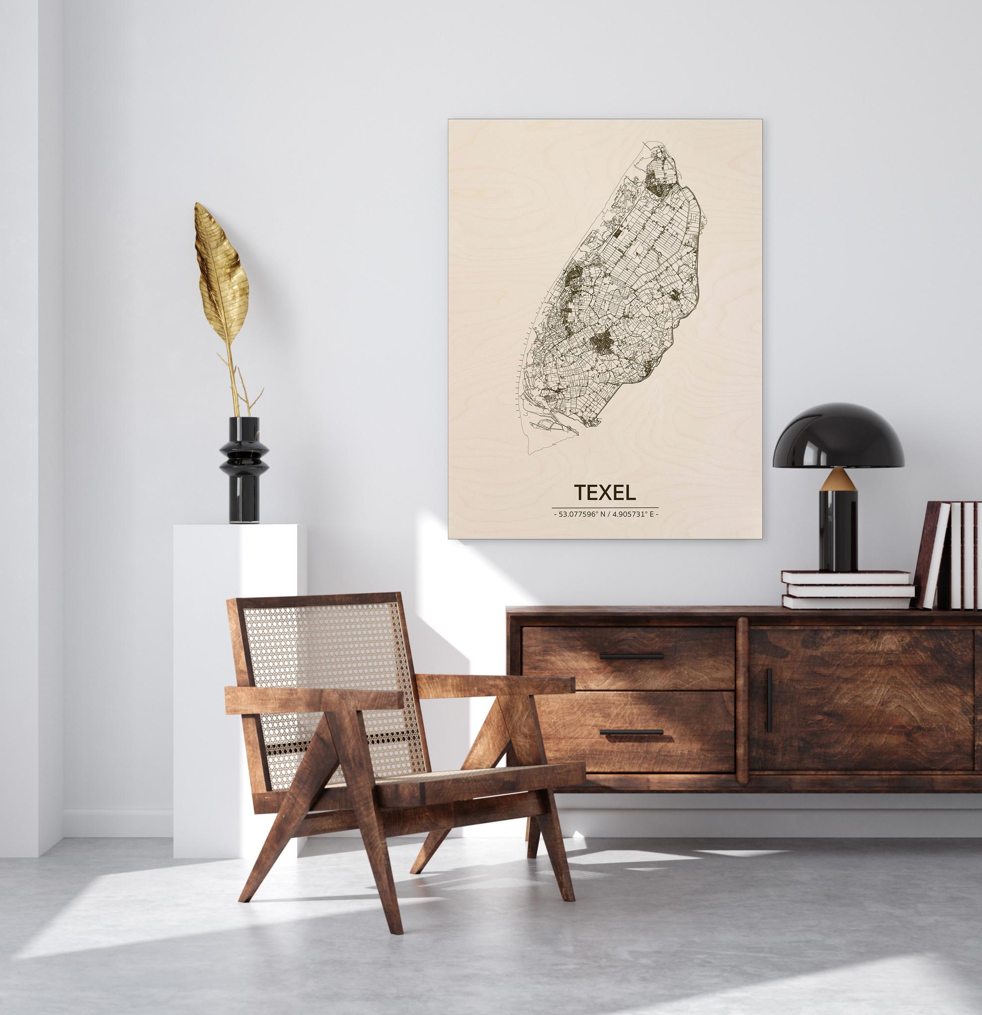 Stadtplan Texel | Wanddekoration Holz-2