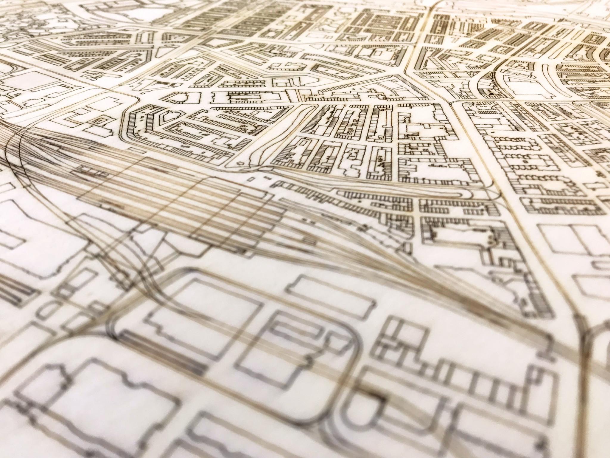 Stadtplan Bogota | Wanddekoration Holz-4