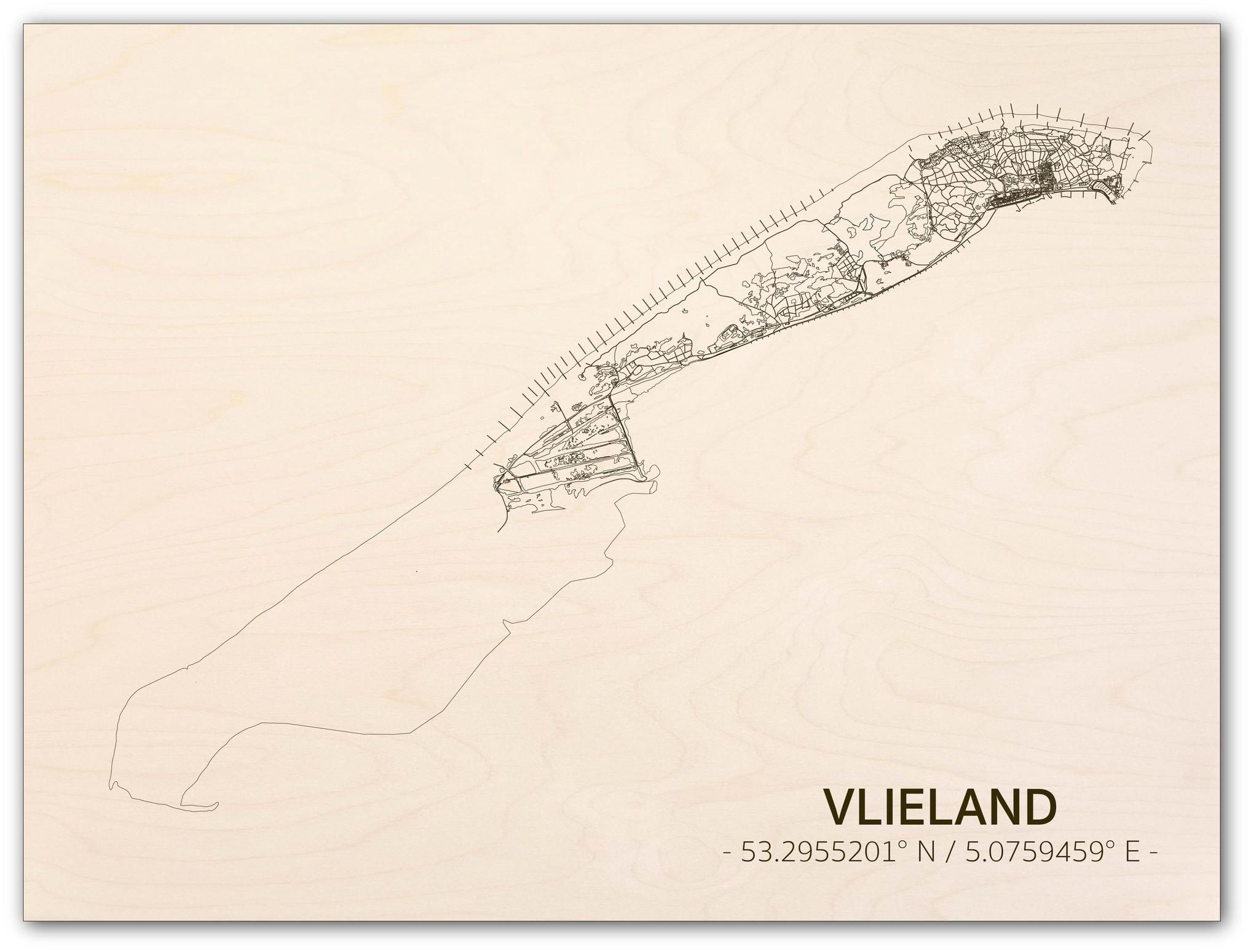 Stadtplan Vlieland | Wanddekoration Holz-1