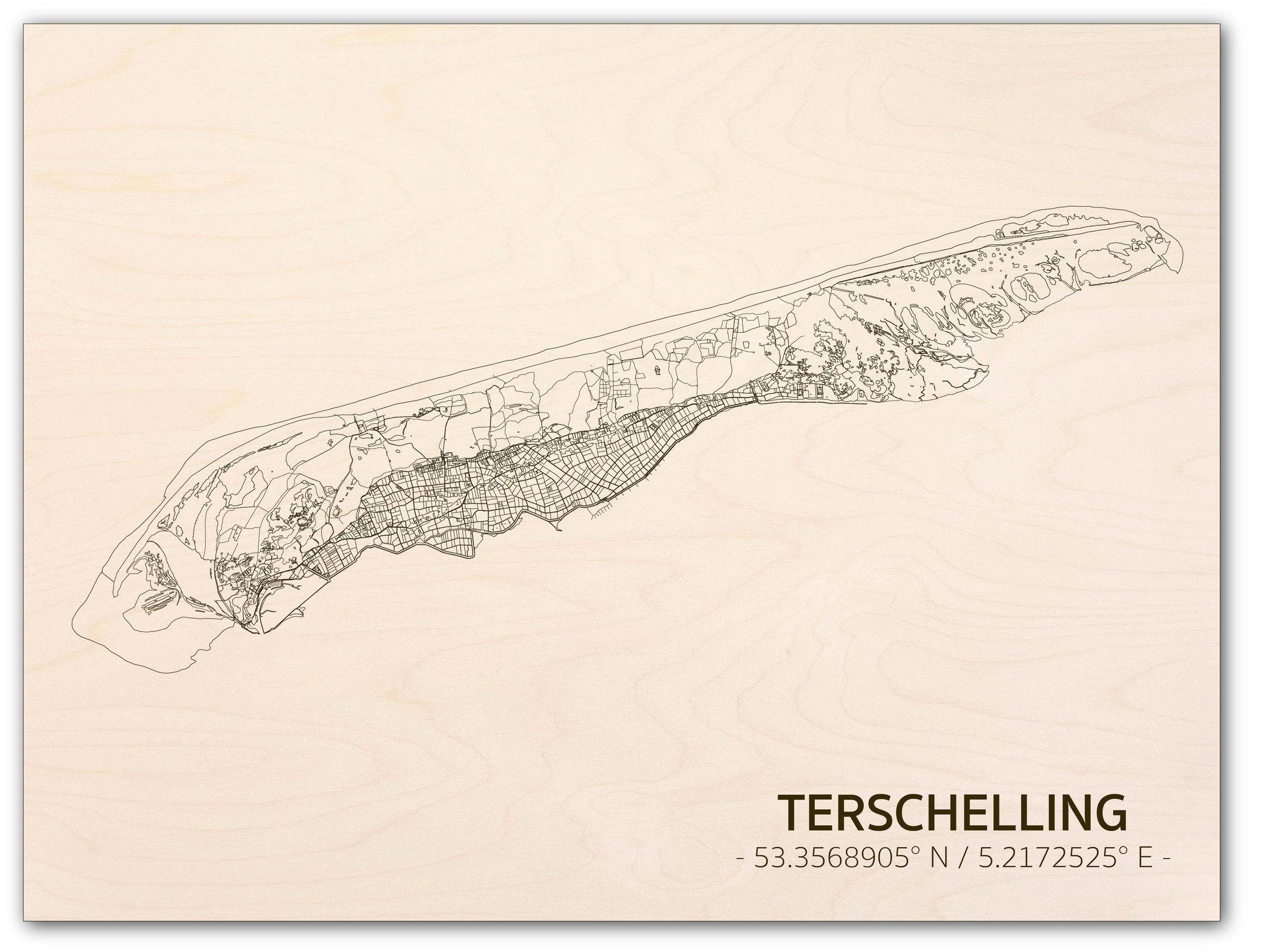 Citymap Terschelling | houten wanddecoratie-1