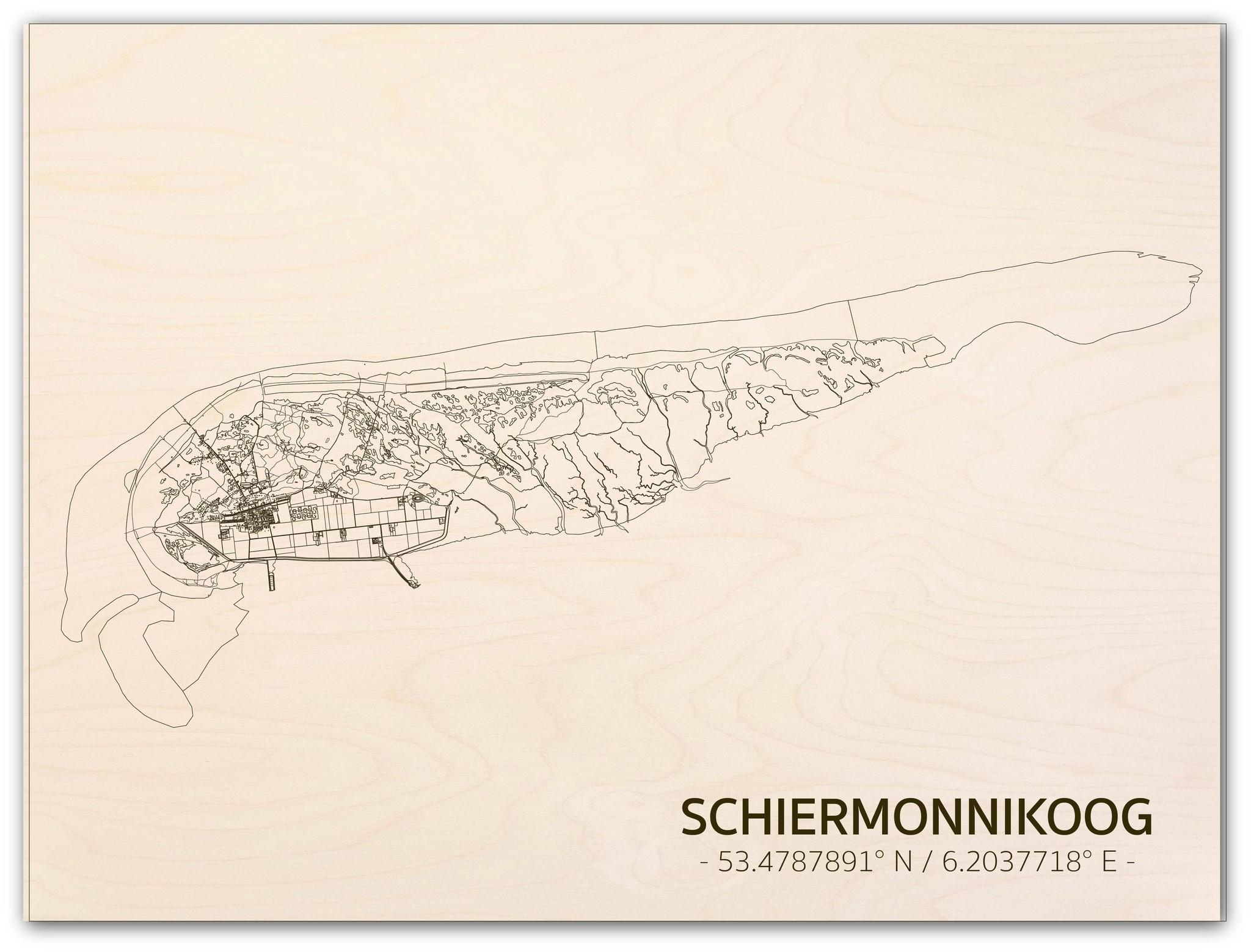 Citymap Schiermonnikoog | wooden wall decoration-1