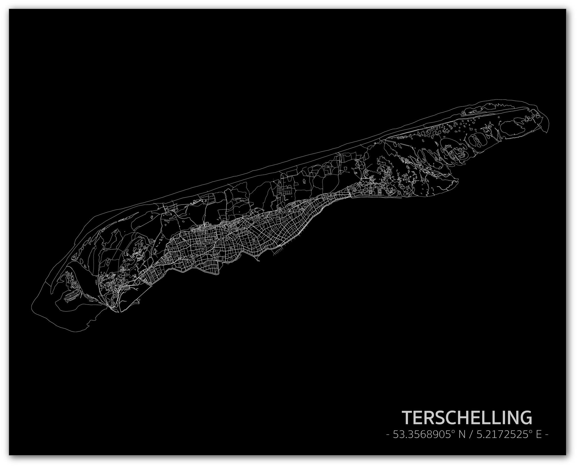 Citymap Terschelling | Aluminium wanddecoratie-1