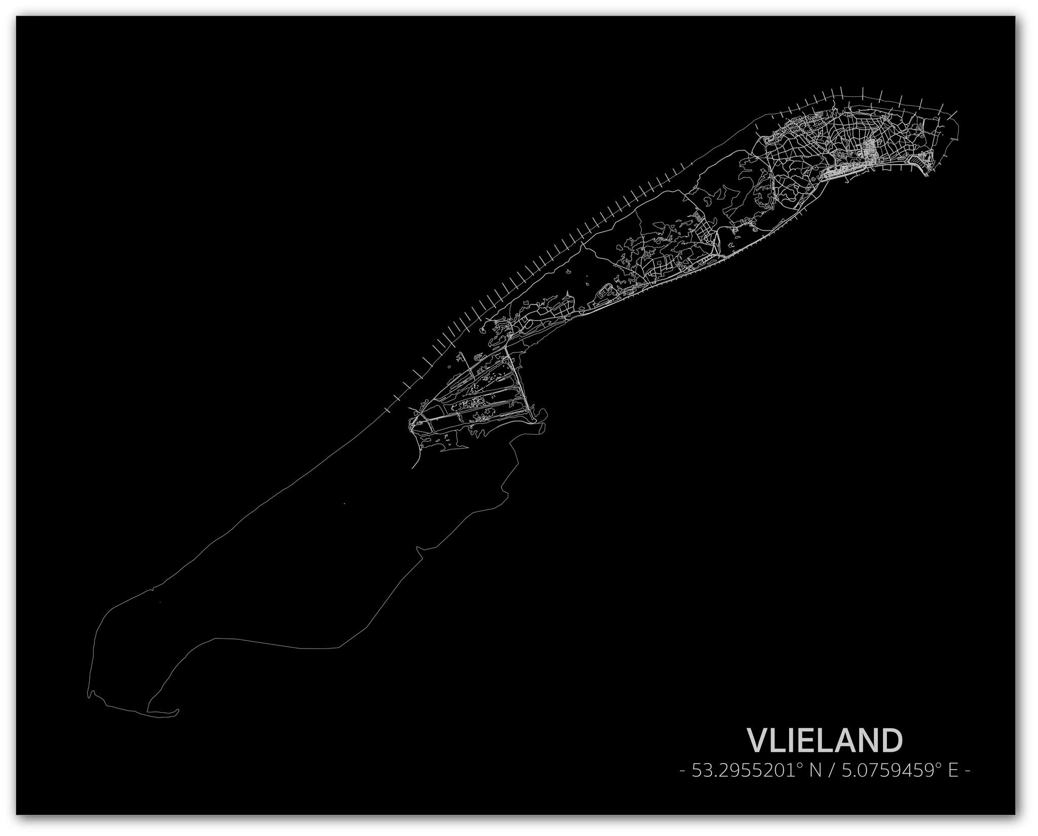 Citymap Vlieland | Aluminium wanddecoratie-1