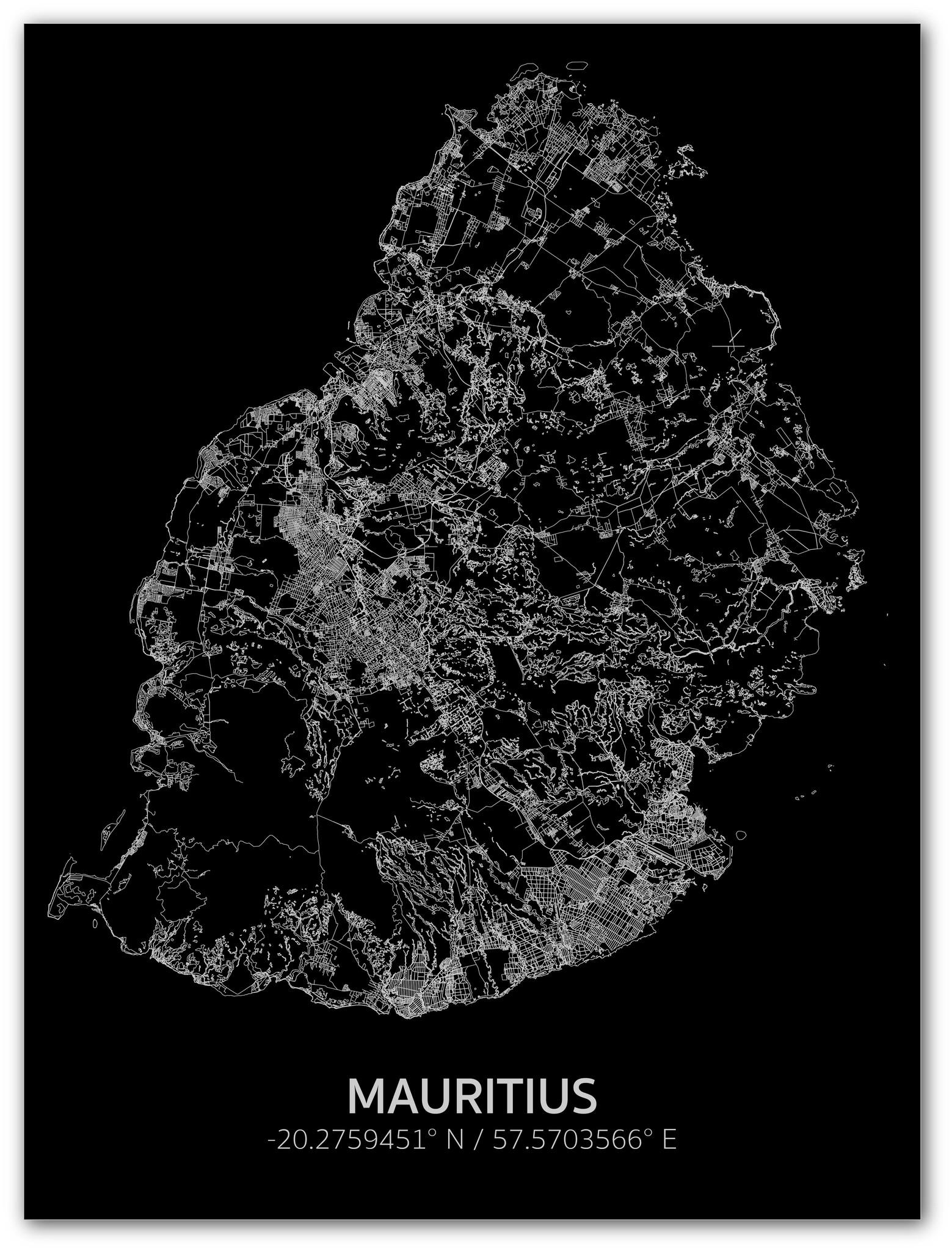Citymap Mauritius | Aluminium wanddecoratie-1