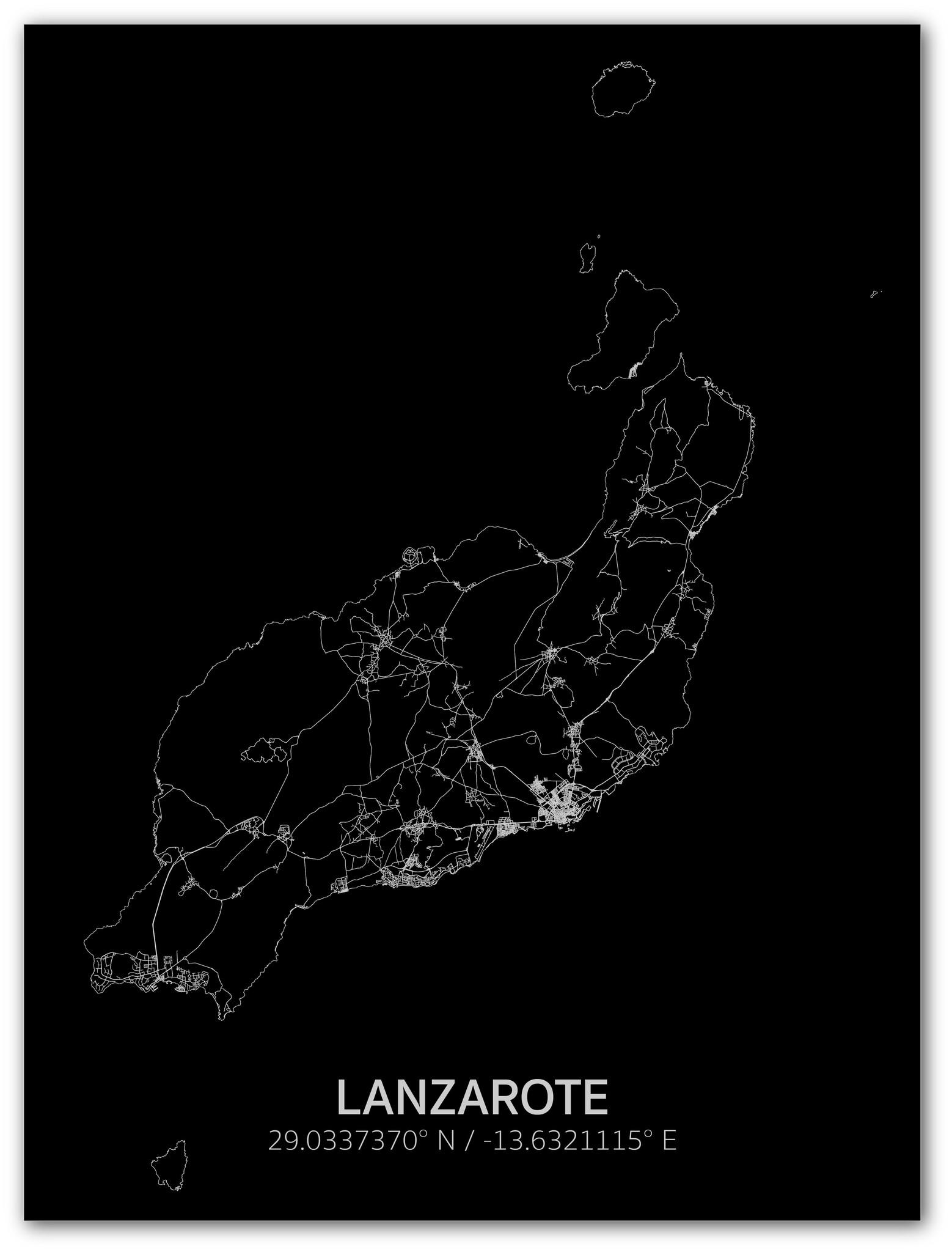 Stadtkarte Lanzarote | Aluminium Wanddekoration-1