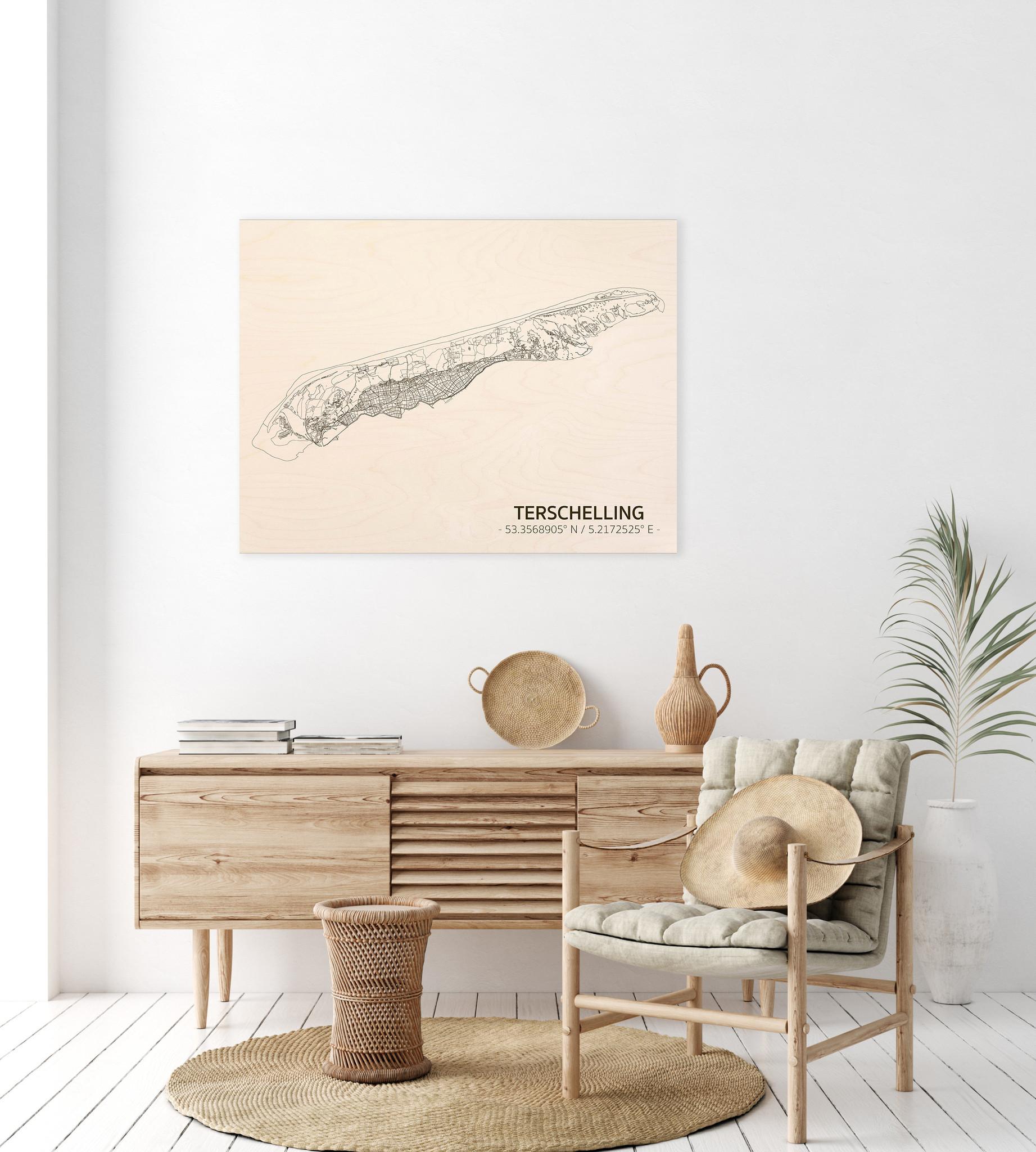 Citymap Terschelling | houten wanddecoratie-2