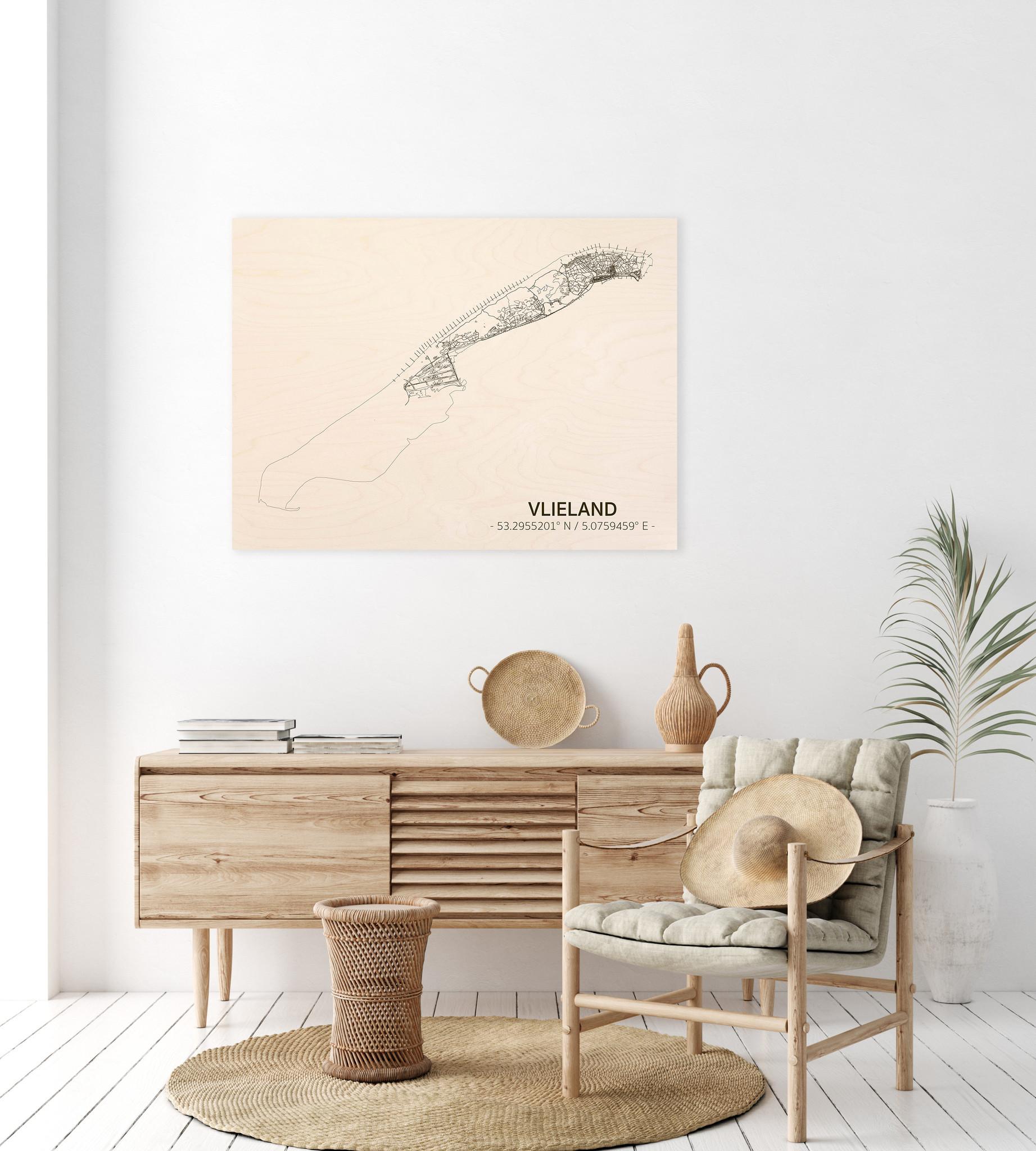 Stadtplan Vlieland | Wanddekoration Holz-2