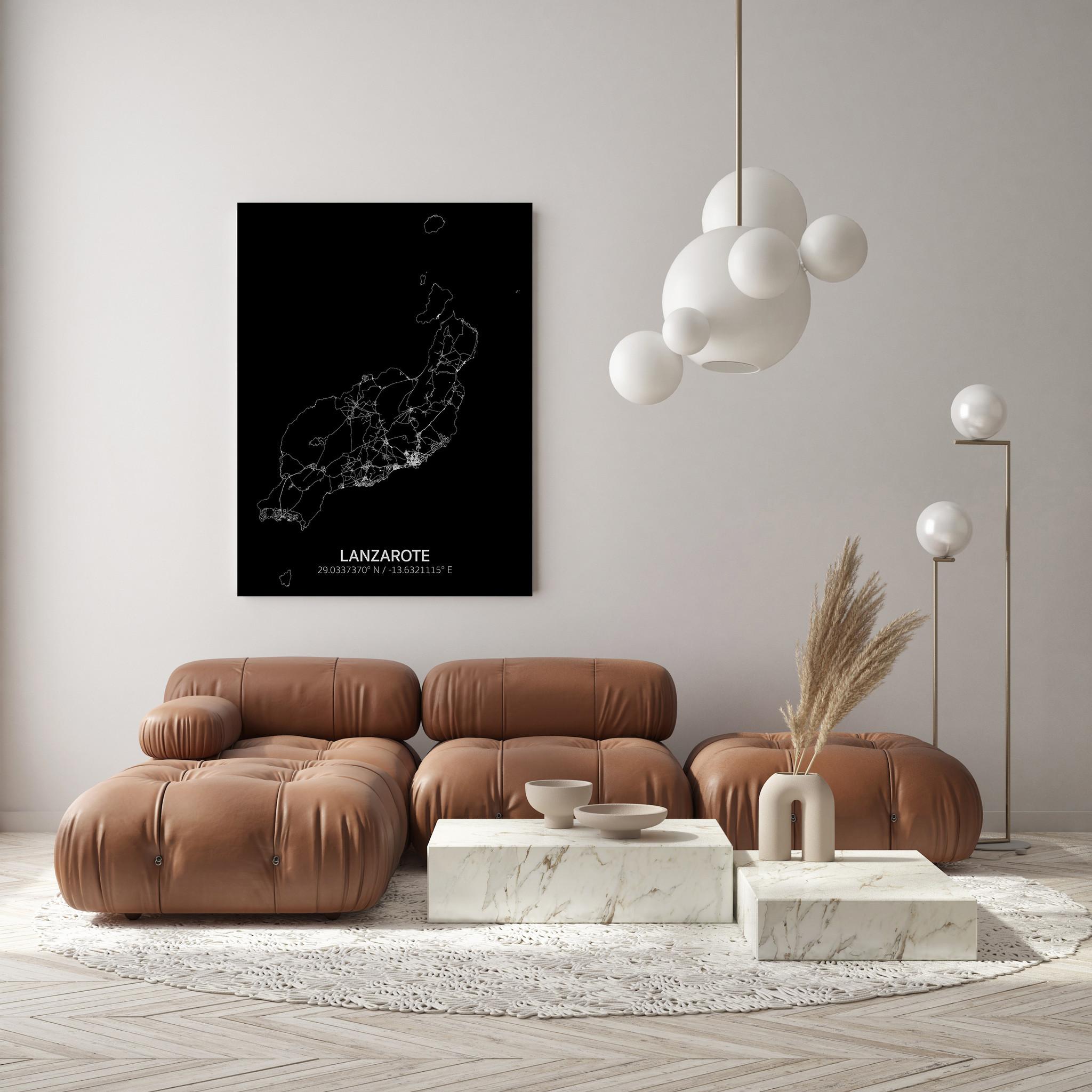 Stadtkarte Lanzarote | Aluminium Wanddekoration-2