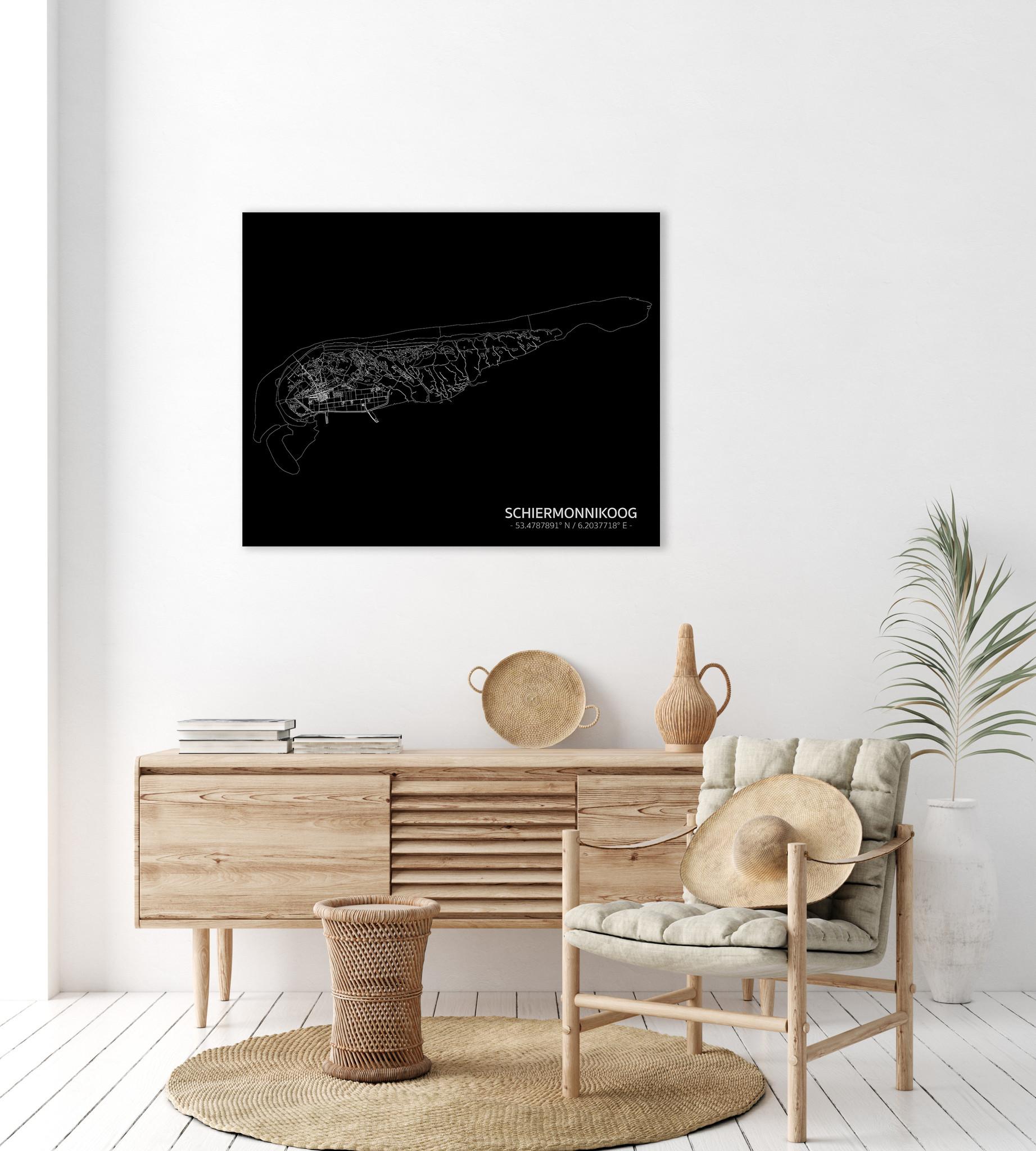 Citymap Schiermonnikoog | Aluminium wanddecoratie-2