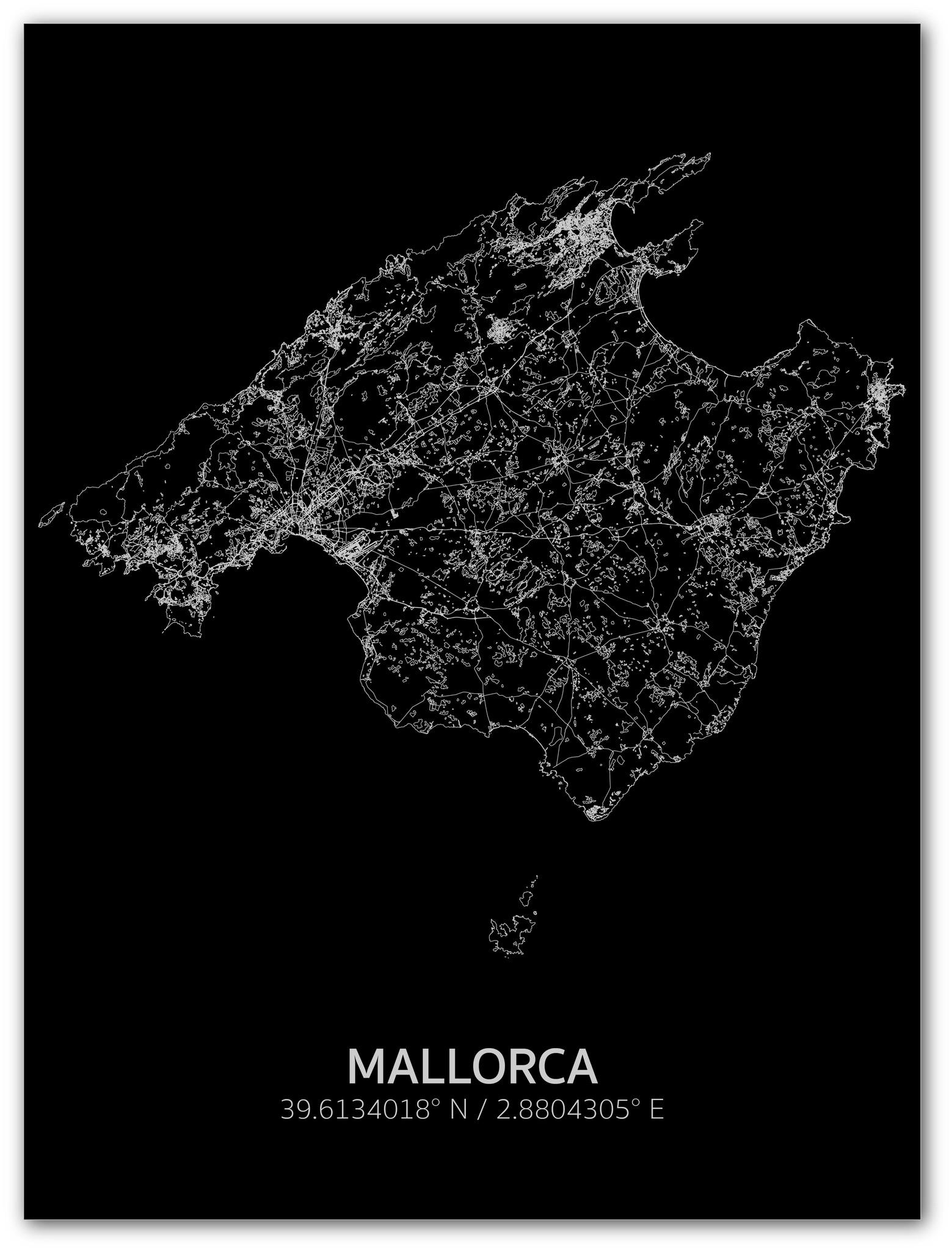 Citymap Mallorca | Aluminium wanddecoratie-1